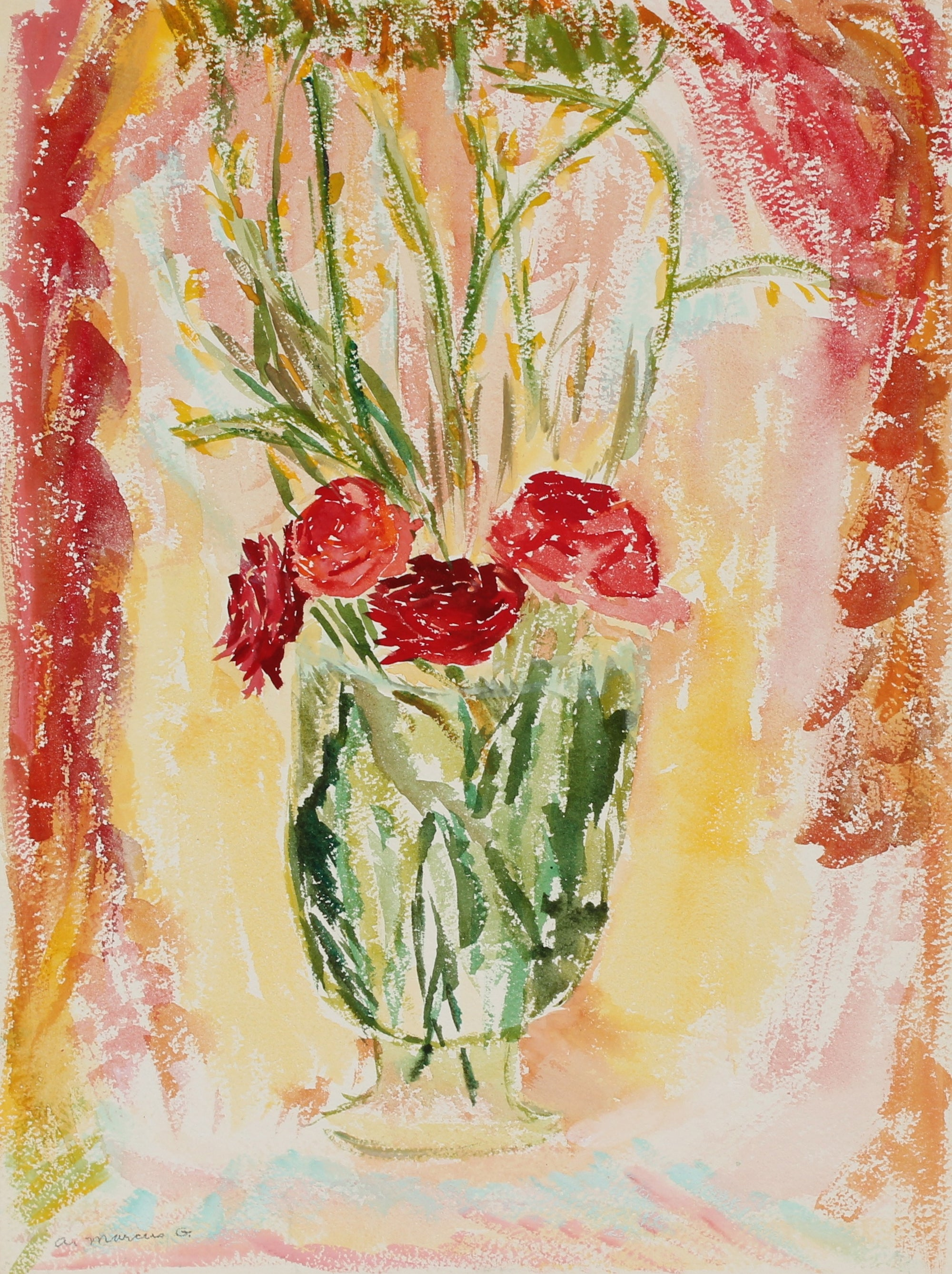 <i>Red Flowers in a Vase</i><br>Watercolor, 1970s<br><br>#89605