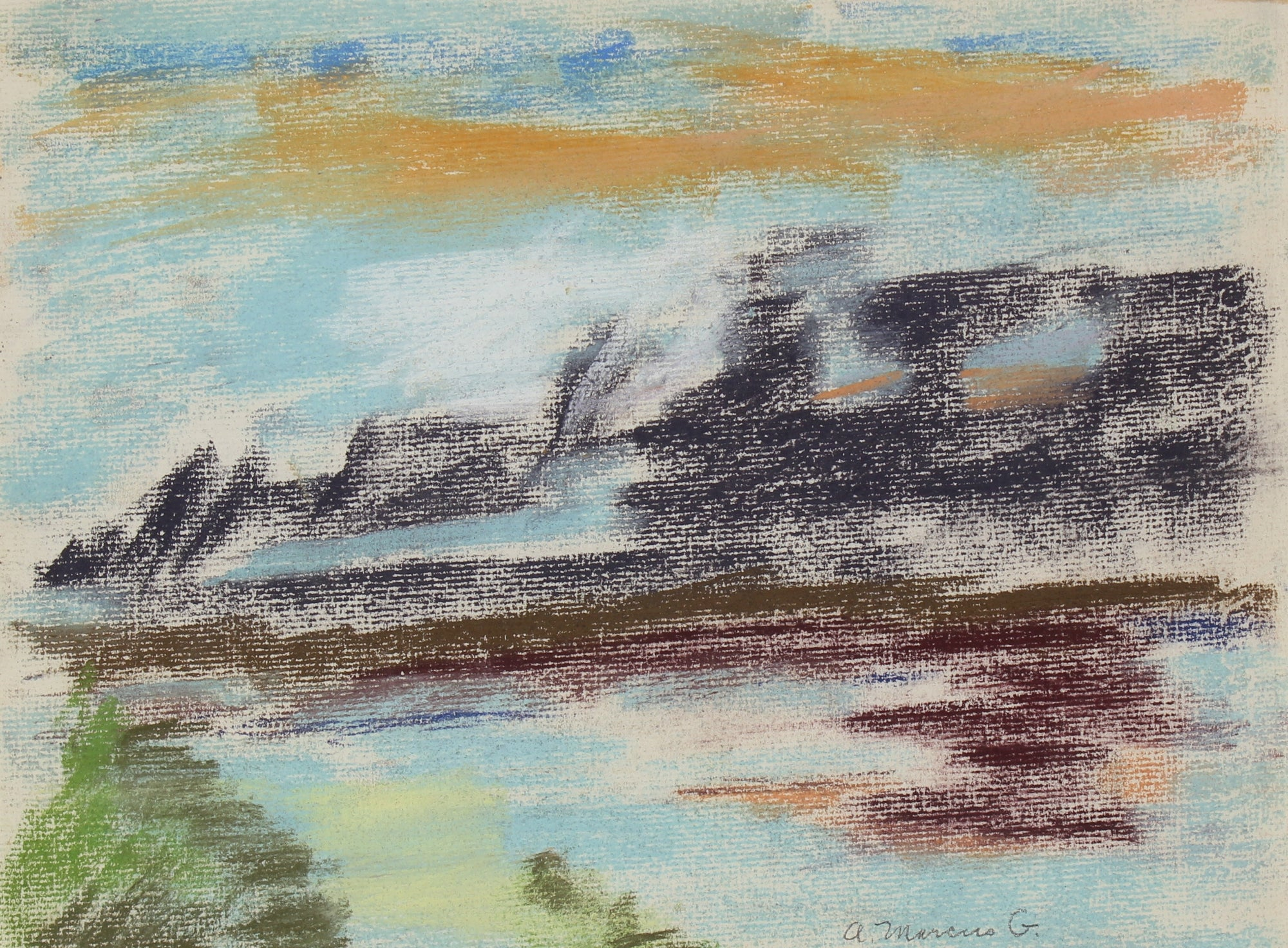 <i>Daybreak Over Bay</i><br>1962 Pastel Scene<br><br>#89617
