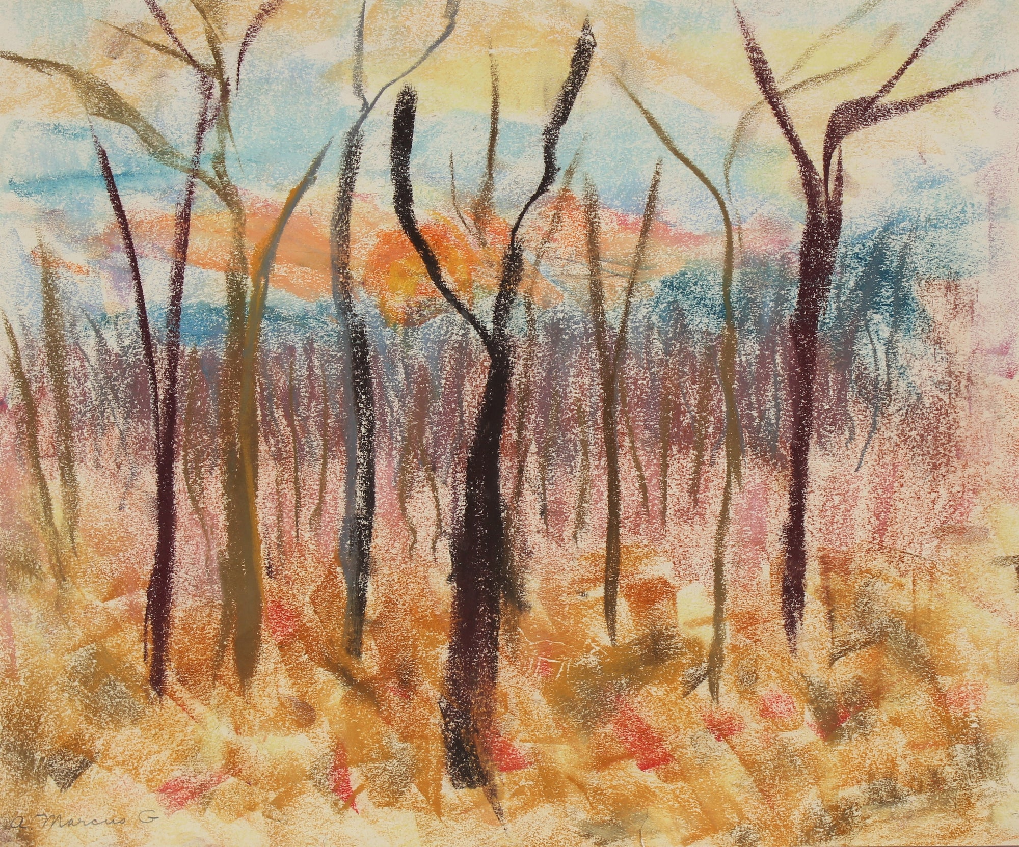 <i>Backyard, Mountain Rd. Winter</i><br>1965 Pastel<br><br>#89626