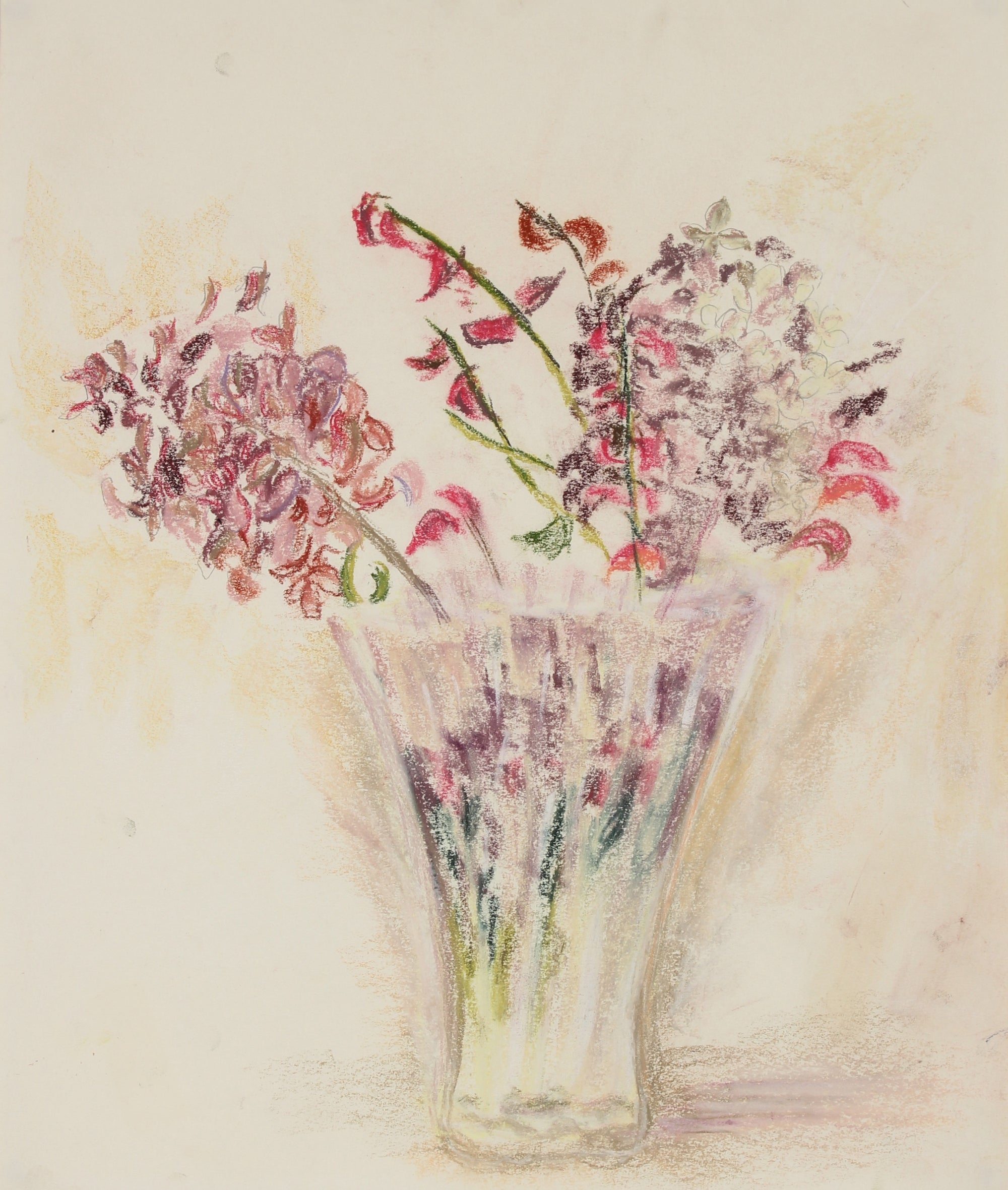 <i>Flowers in a Clear Vase</i><br>Pastel Still Life<br><br>#89630