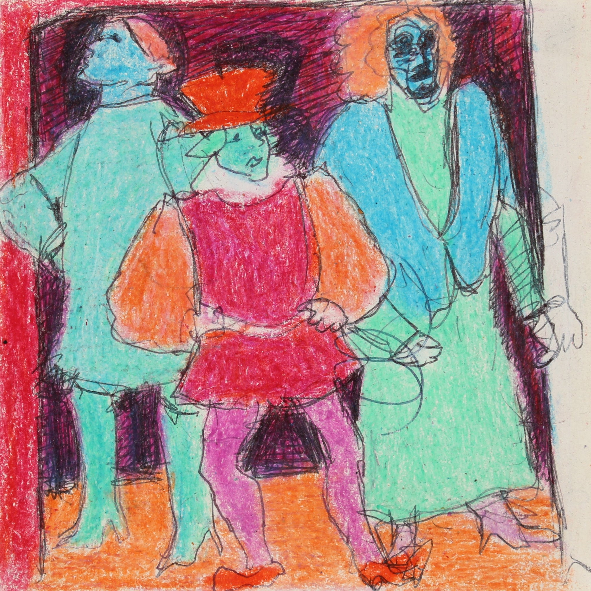 Colorful Figure Scene<br>January 11th 1987 Ink and Wax Crayon on Paper<br><br>#90605