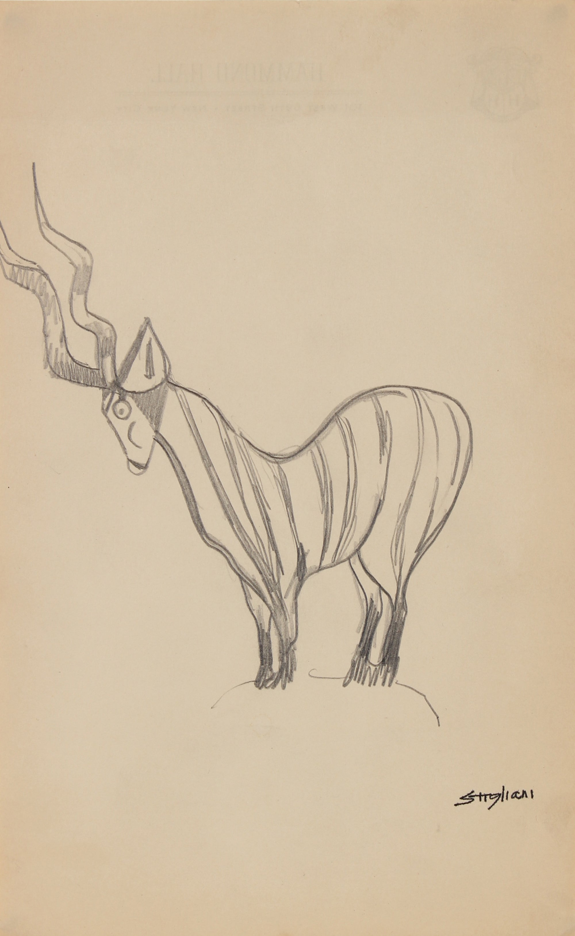 Stylized Antelope Drawing <br>Mid Century Graphite <br><br>#90688