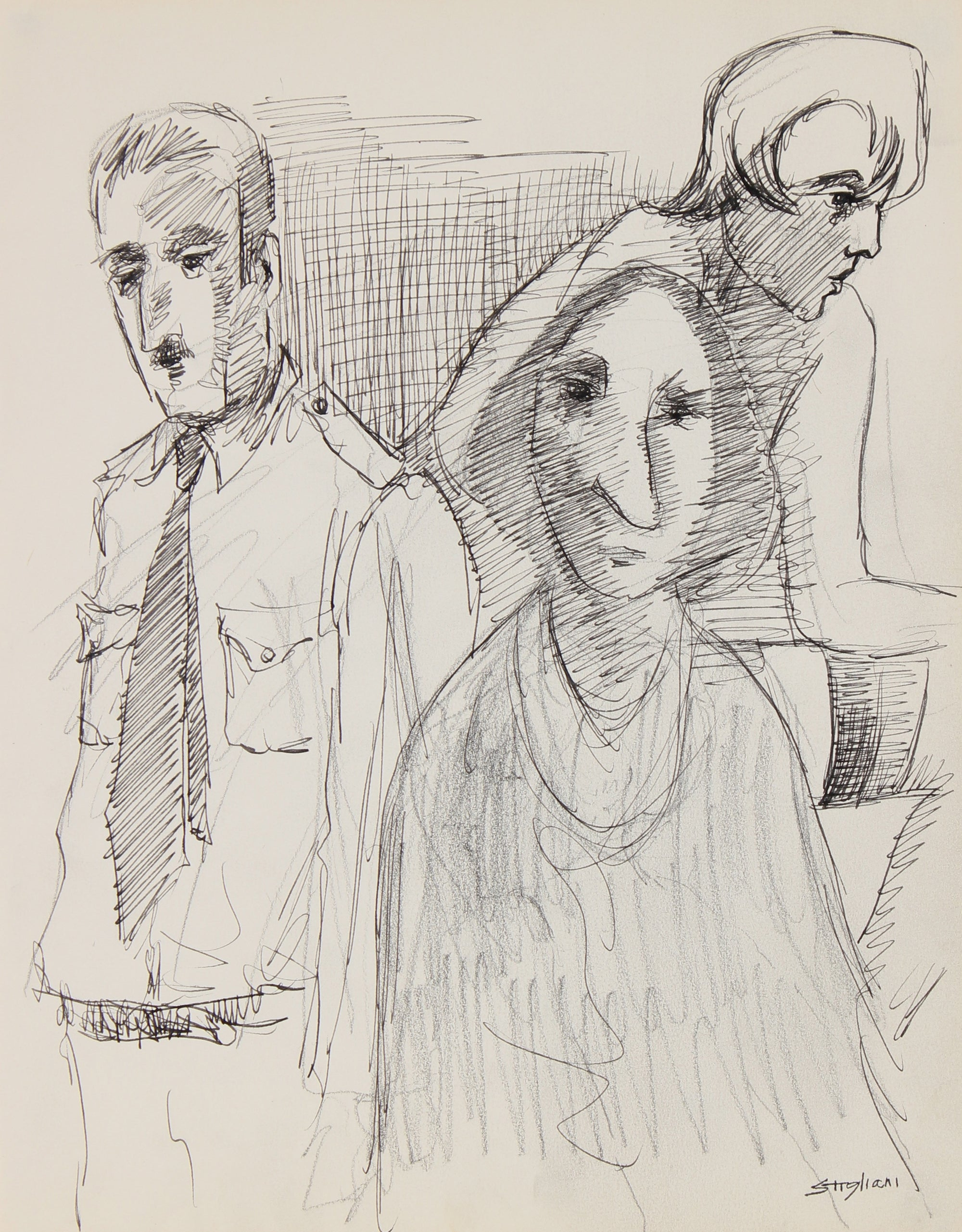 Three Modernist Figures <br>Mid-Late 20th Century Graphite and Ink <br><br>#90705