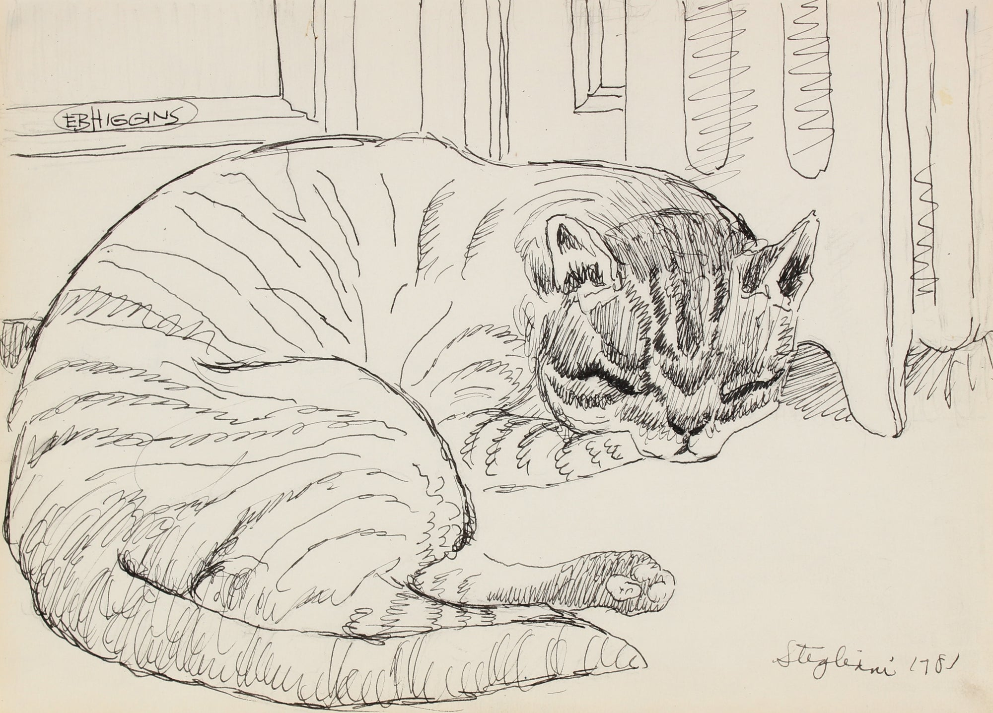 Cat at Rest<br>Ink on Paper, 1981<br><br>#90717