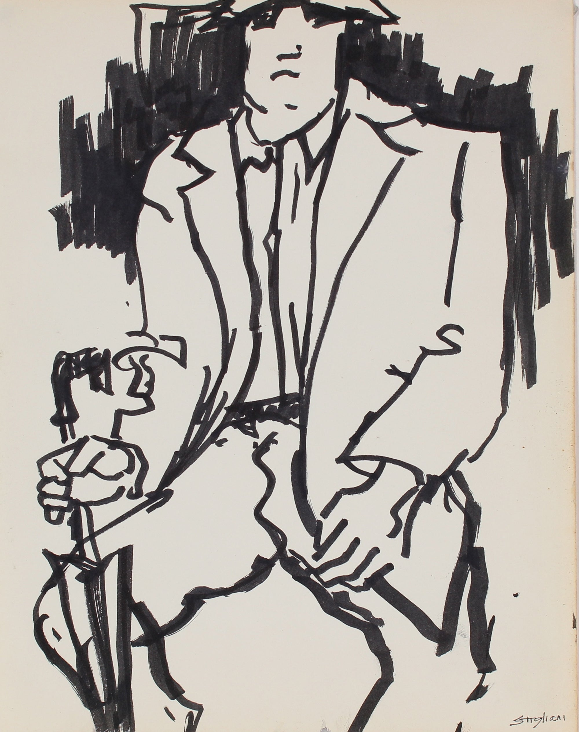 Modernist Man with Umbrella<br>Mid-Late 20th Century Ink<br><br>#90731