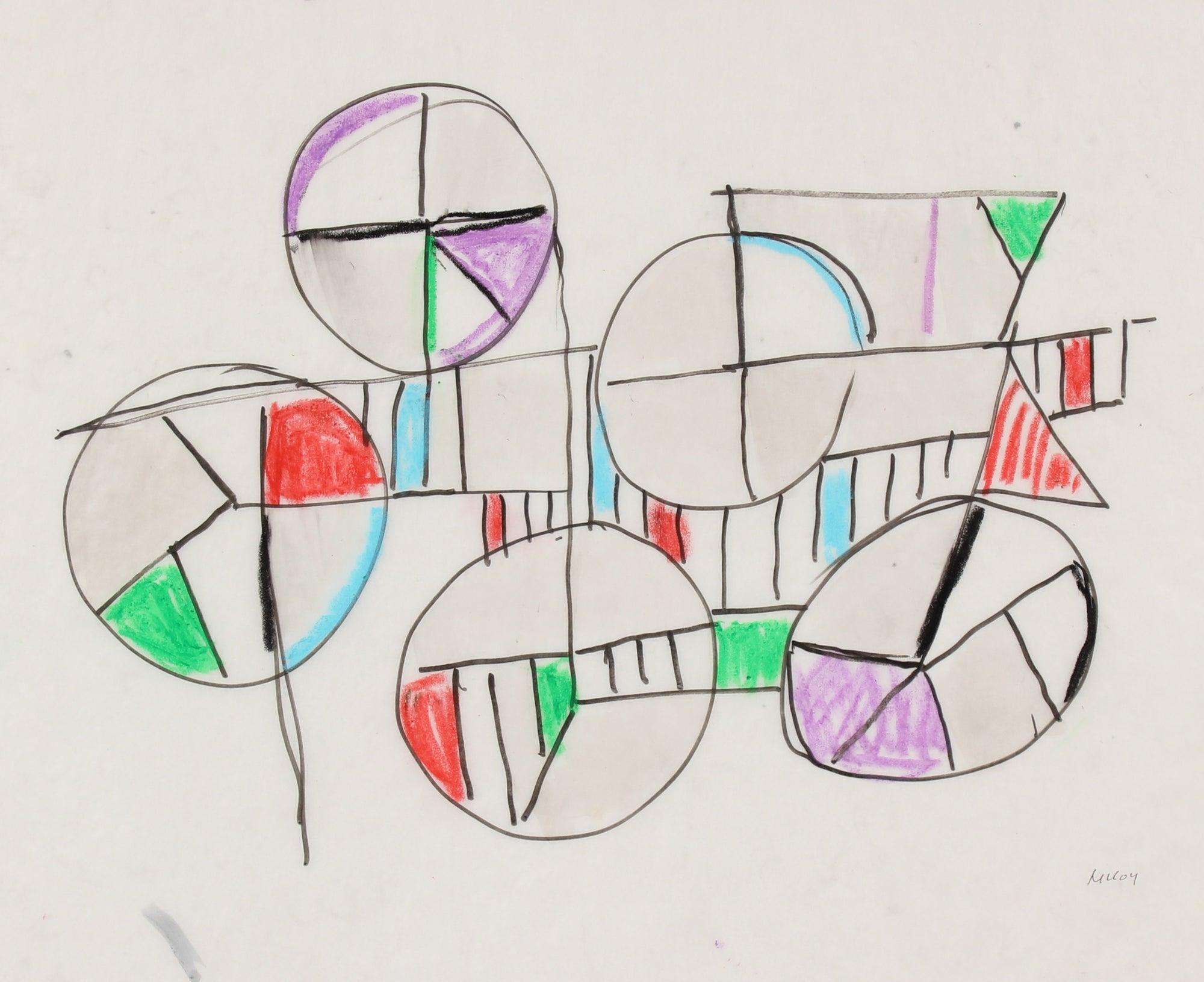 Circles in the Abstract<br>1960-70s Pastel & Ink<br><br>#90782