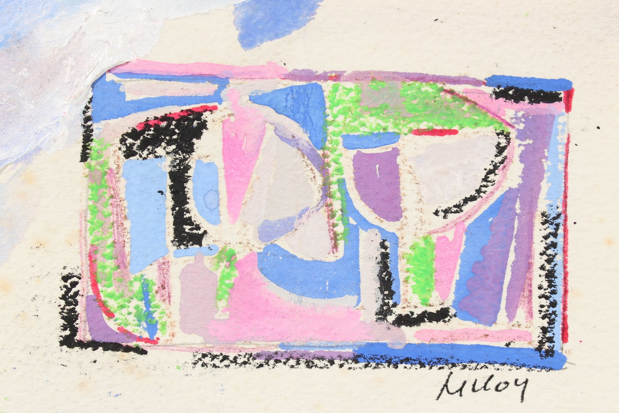 Petite Geometric Abstract Study<br>Mid - Late 20th Century Pastel & Gouache<br><br>#90814