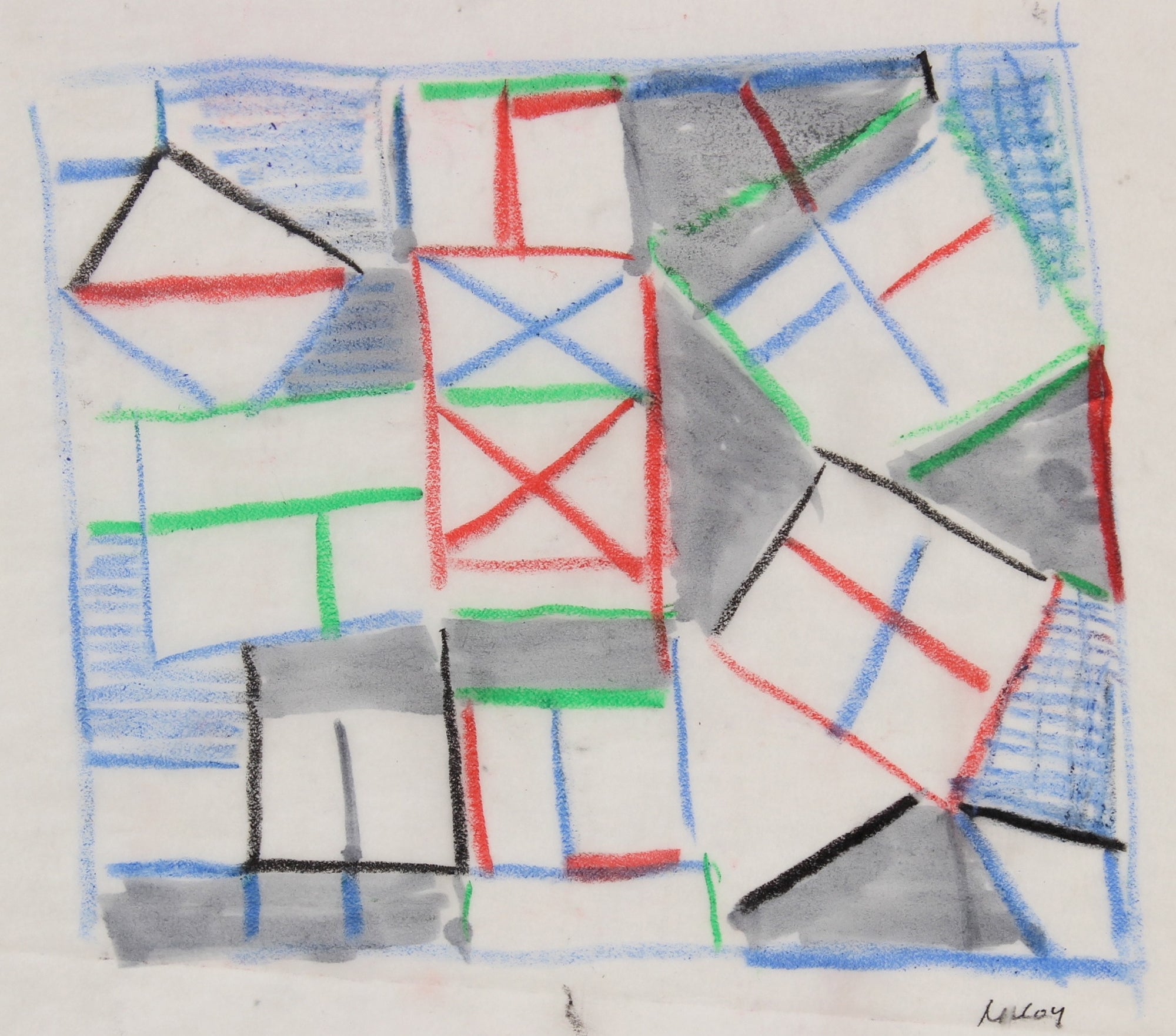 Square Deconstructed Abstract<br>1960-70s Pastel<br><br>#91044