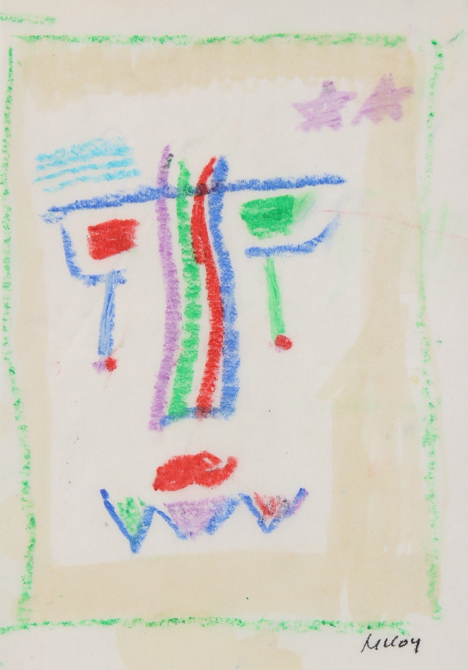 Surreal Abstracted Face<br>1960-70s Pastel<br><br>#91047