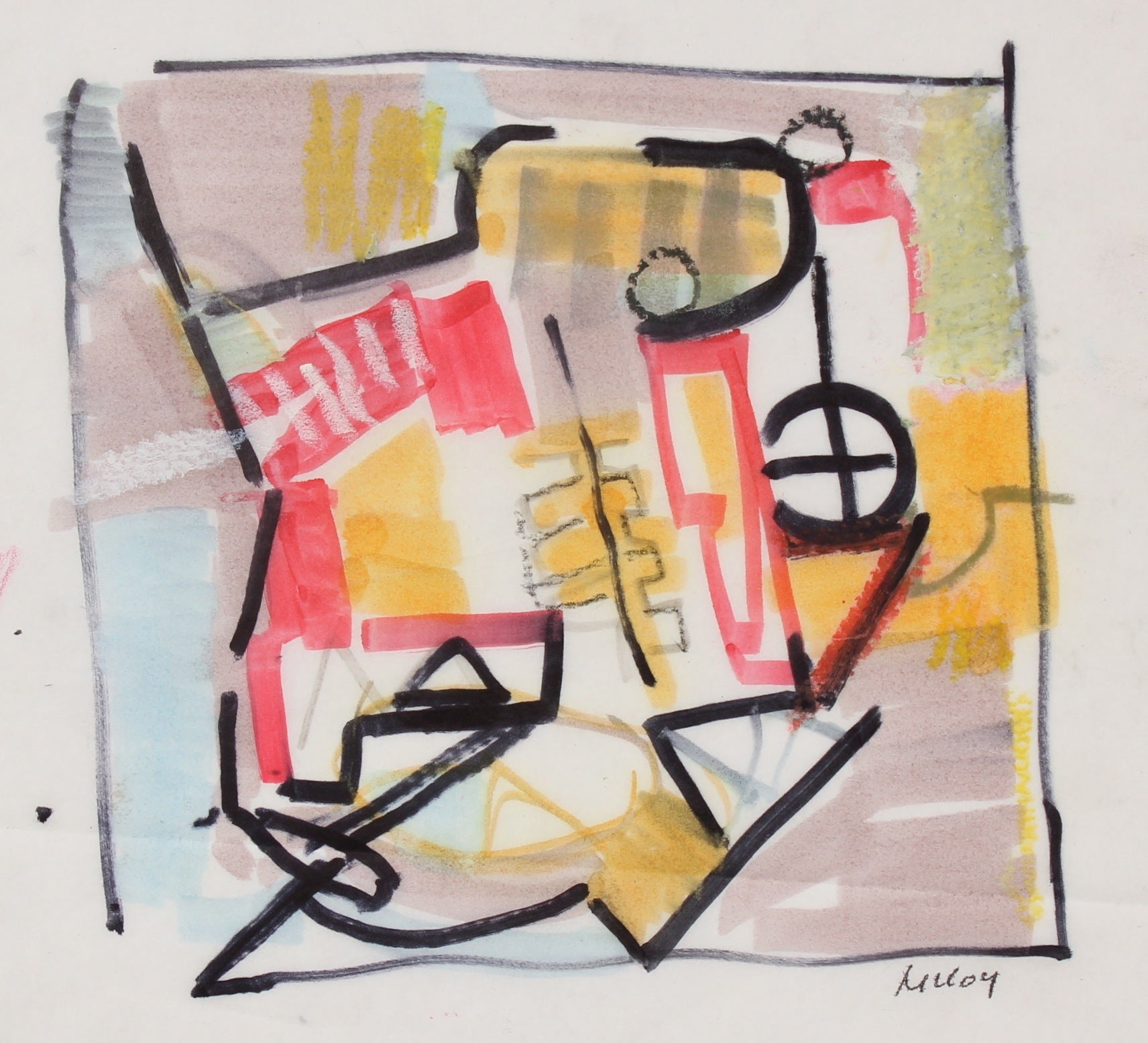 Abstracted City Shapes<br>1960-70s Ink & Oil Pastel<br><br>#91050