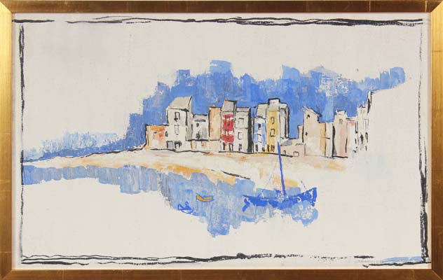 <i>Spanish Harbor</i><br>Mid Century Oil Scene<br><br>#91087