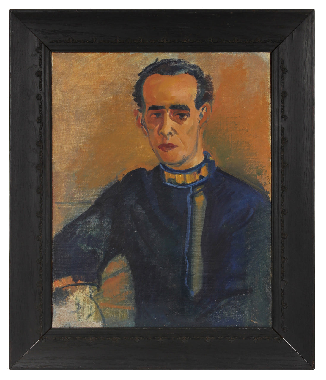 Modernist Portrait of a Man in Blue <br>1930s Oil <br><br>#50203