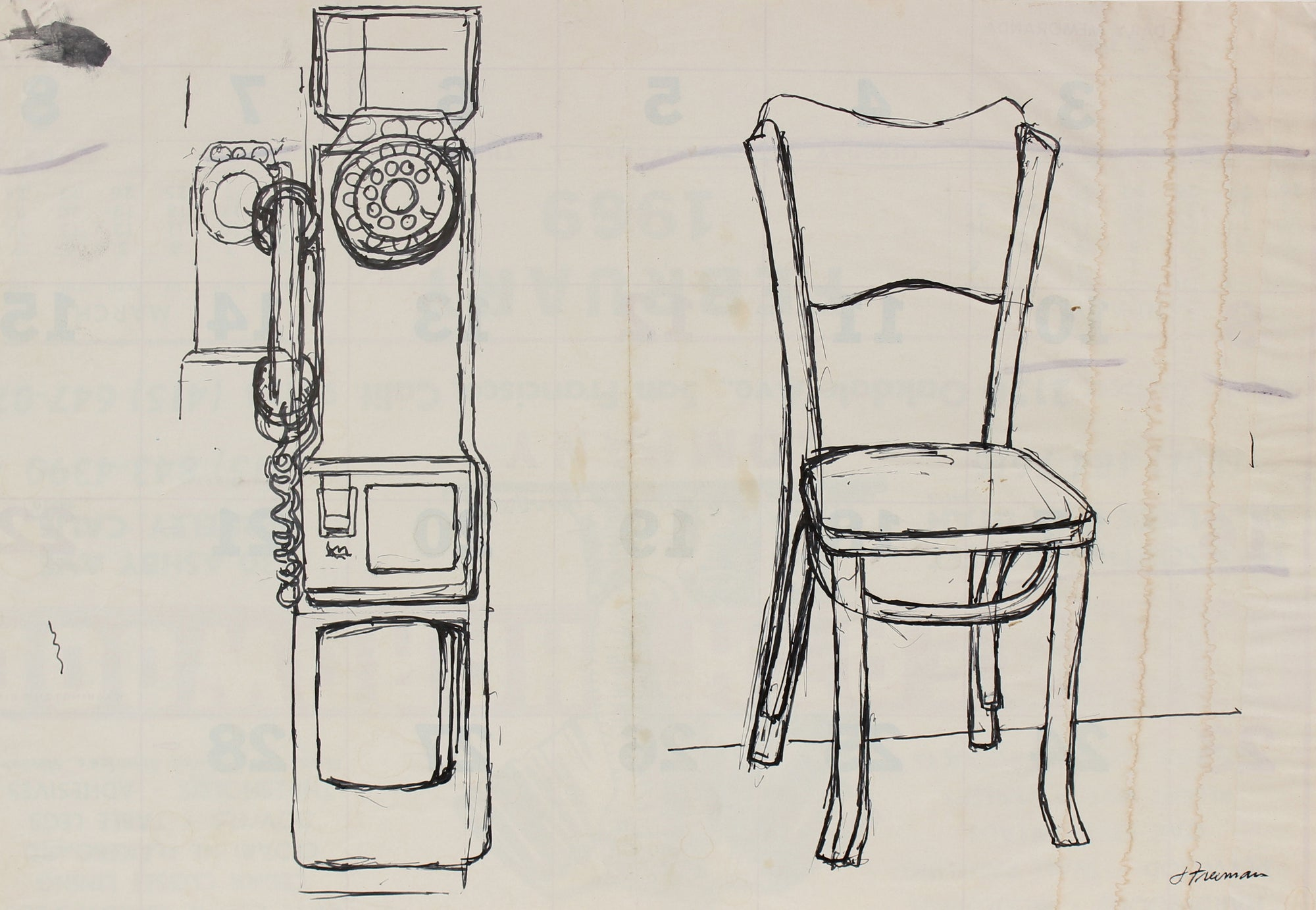 Study of Public Rotary Phone and Wooden Chair <br><br>#91440