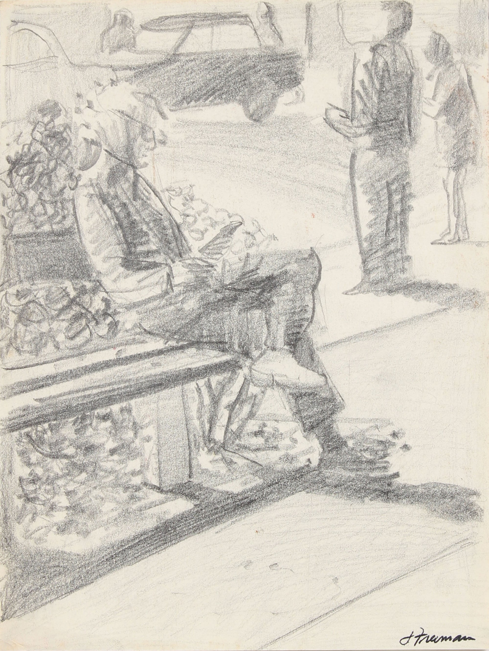 Men Relaxing On Park Bench <br>20th Century Graphite <br><br>#91467
