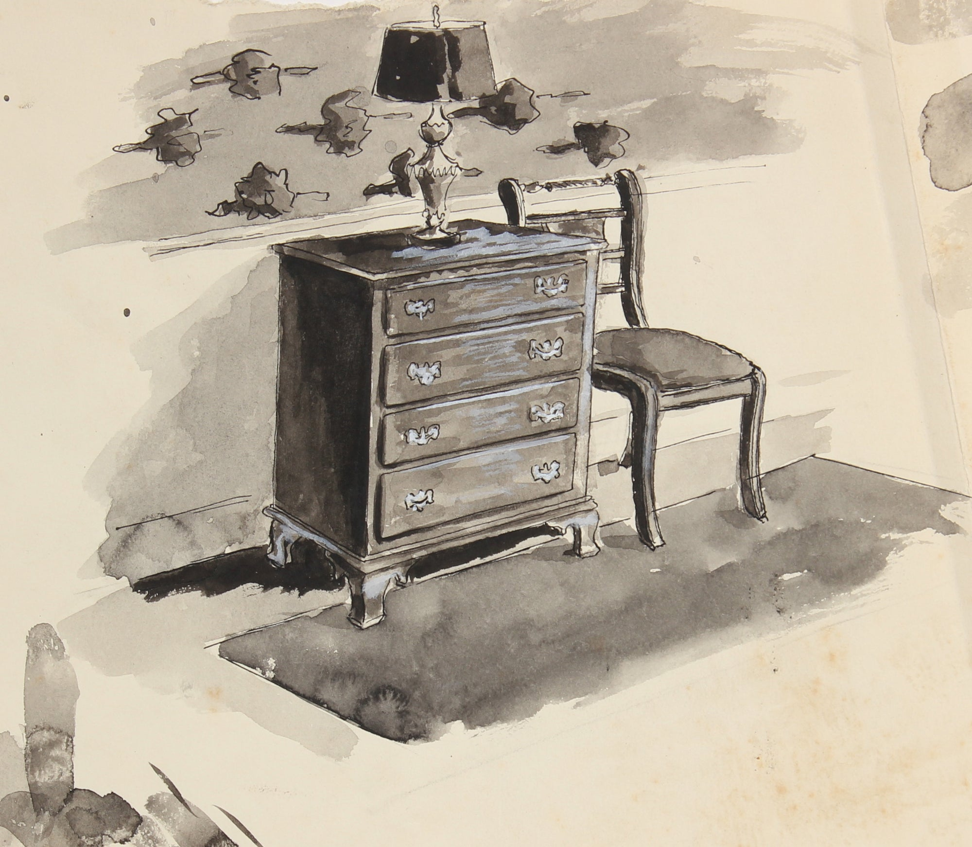 Drawers and Chair <br> Mid Century Ink <br><br>#91495