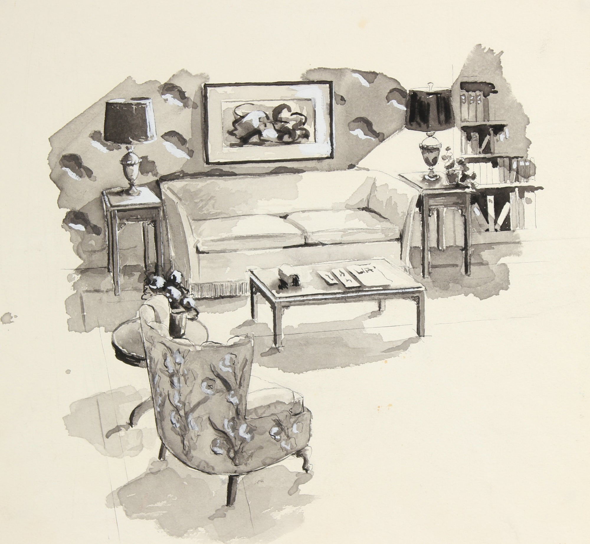 Living Room Interior <br>Mid Century Ink <br><br>#91496