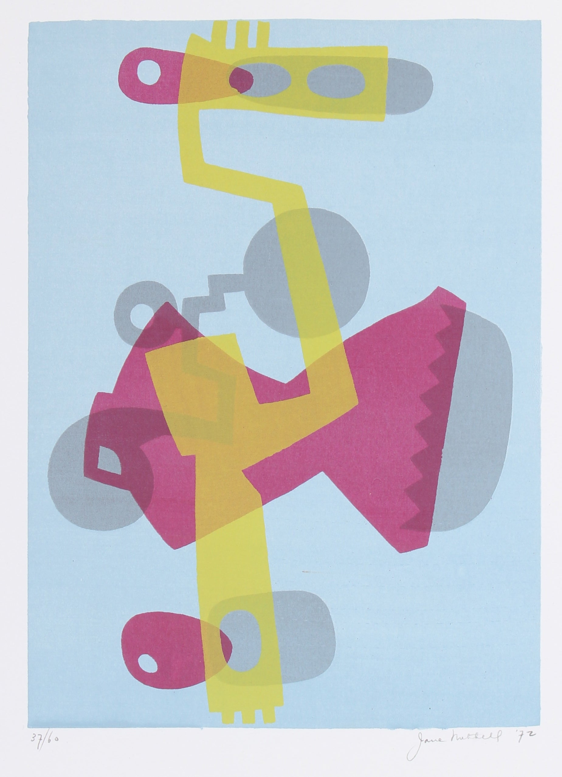 Complementary Pink & Yellow Mechanical Abstract <br>1972 Serigraph <br><br>#91501