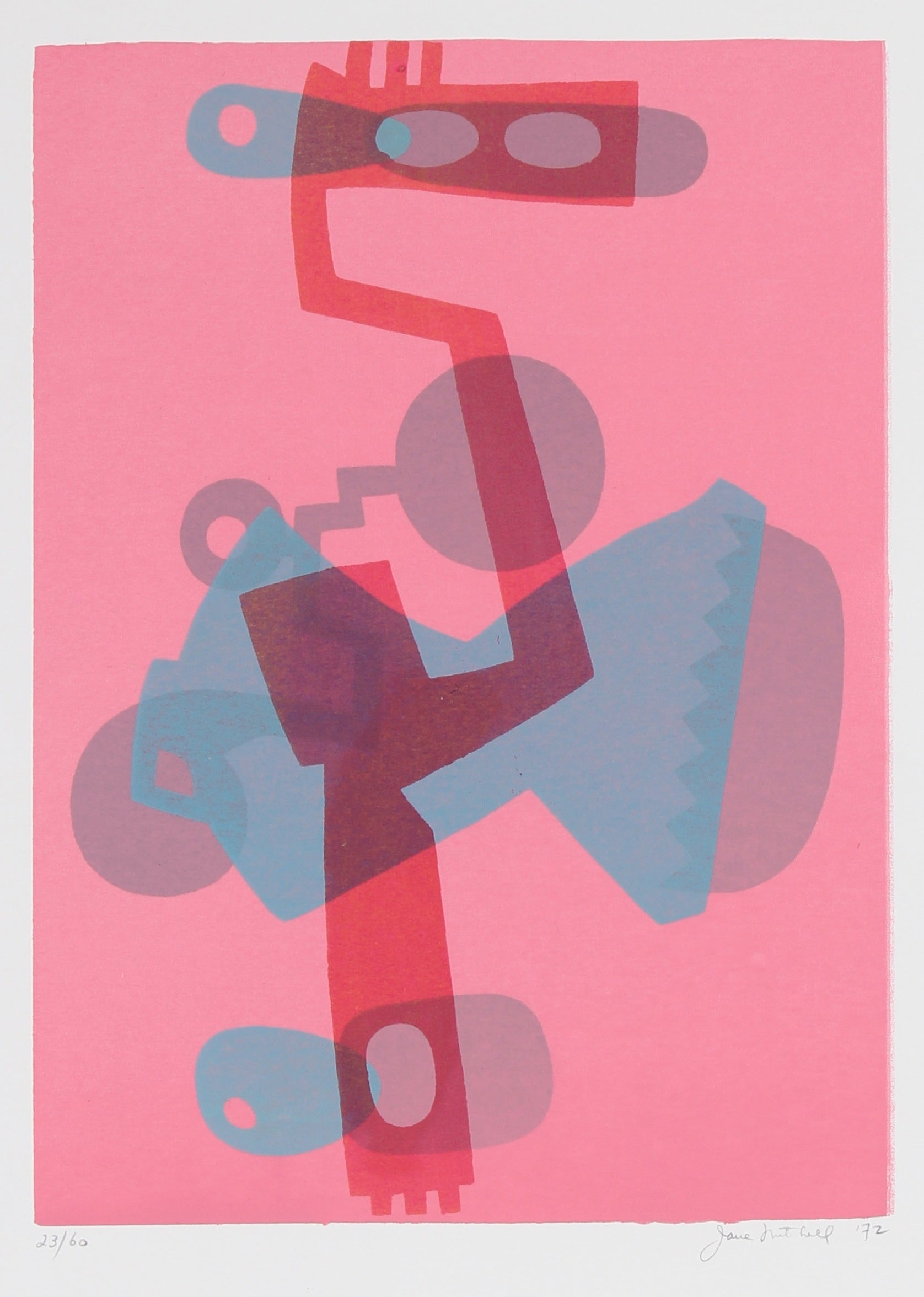 Pink Abstracted Mechanical Forms <br> 1972 Serigraph <br><br>#91502
