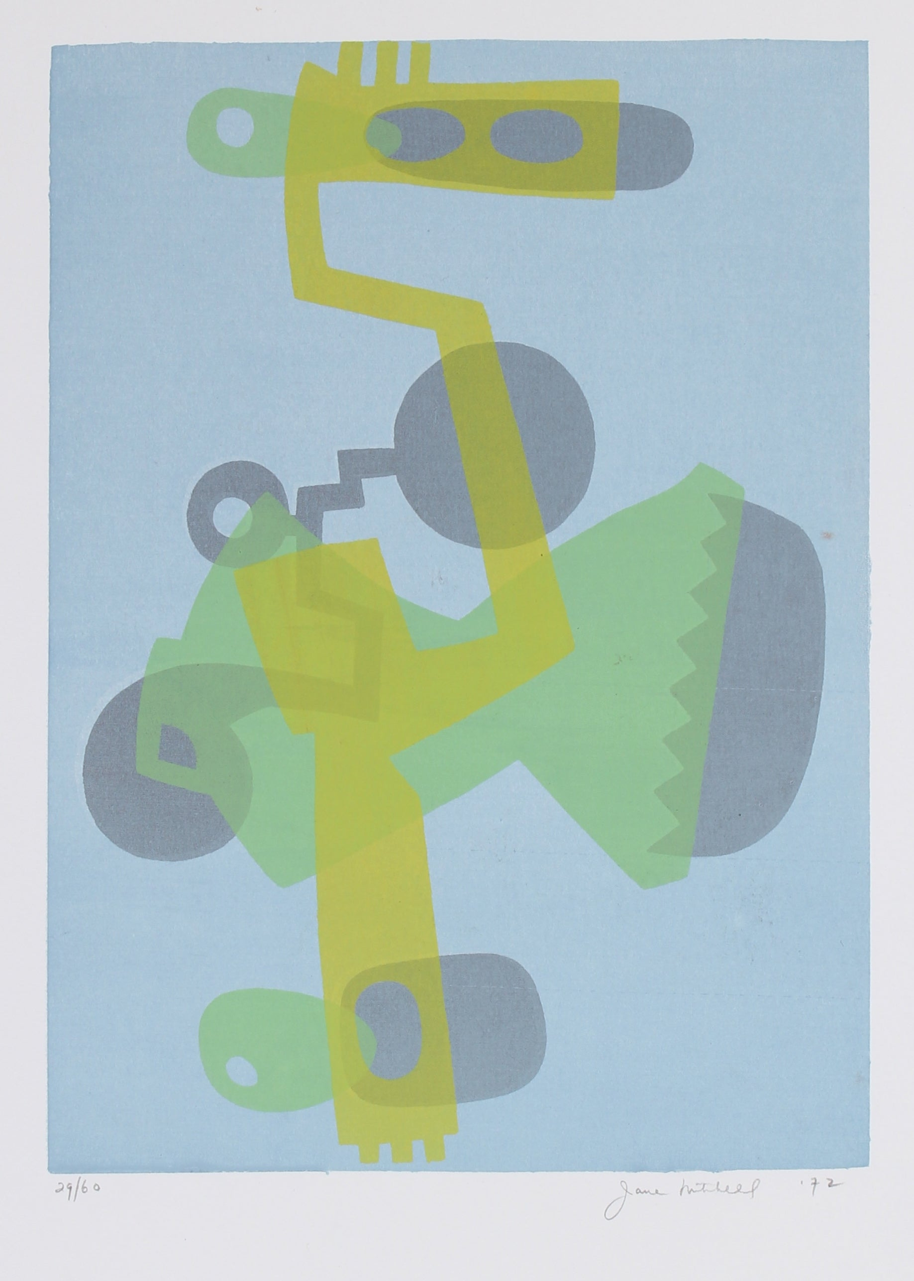 Abstracted Mechanical Forms in Cool Tones <br>1972 Serigraph <br><br>#91506