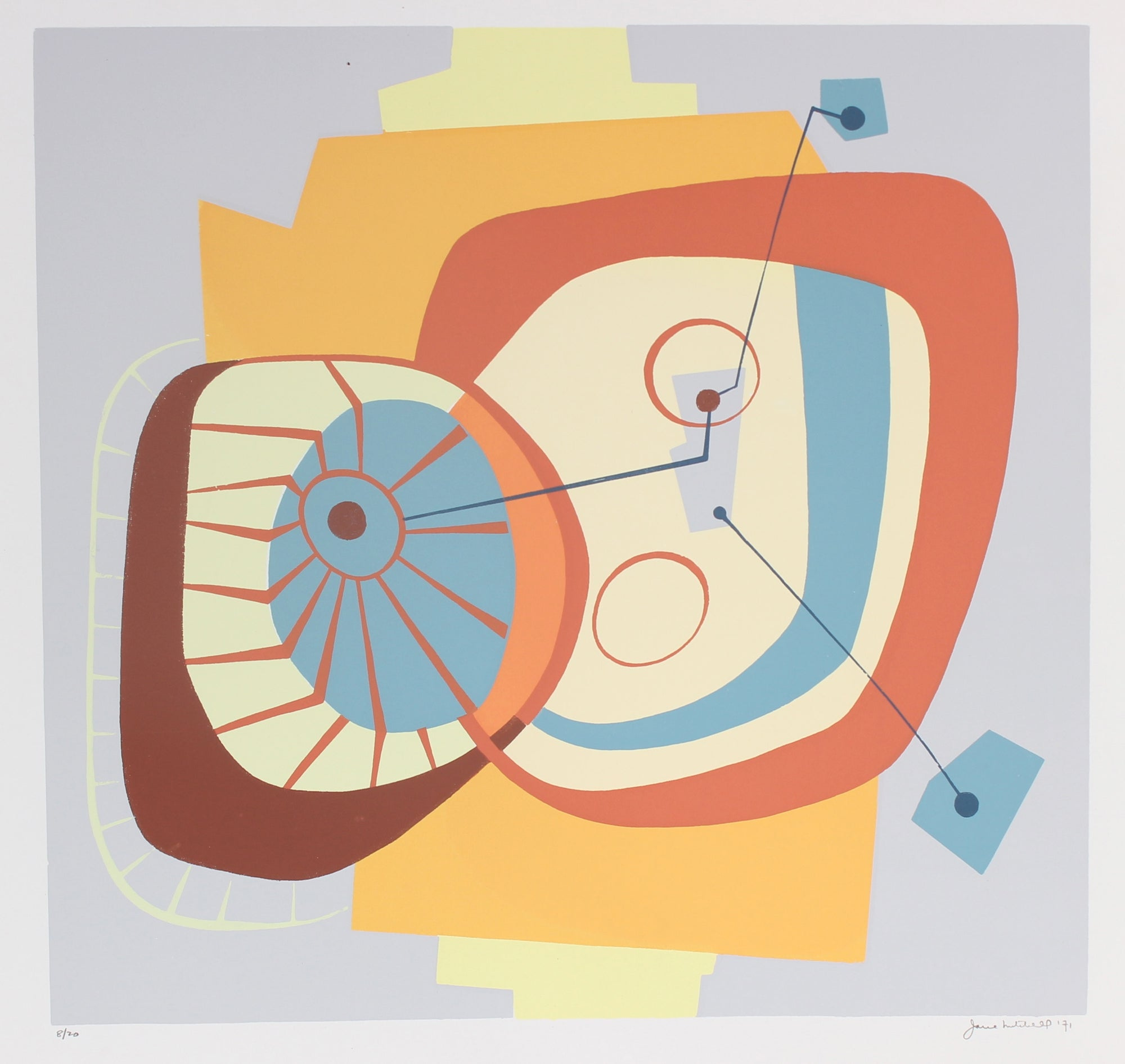 Modernist Geometric Abstract <br>1971 Serigraph <br><br>#91508