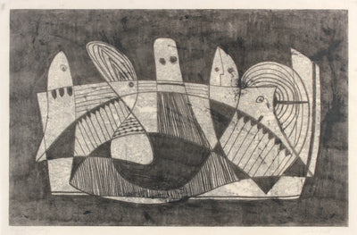 Intricate Geometric Black & White Abstract <br>1960-70s Monotype <br><br>#91536