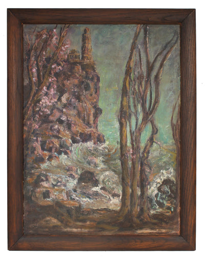 Moody Landscape with Trees <br> Mid-Late 20th Century Oil <br><br>#91555