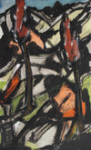 Abstract Expressionist Landscape<br>1940-50s Paint on Masonite<br><br>#92504