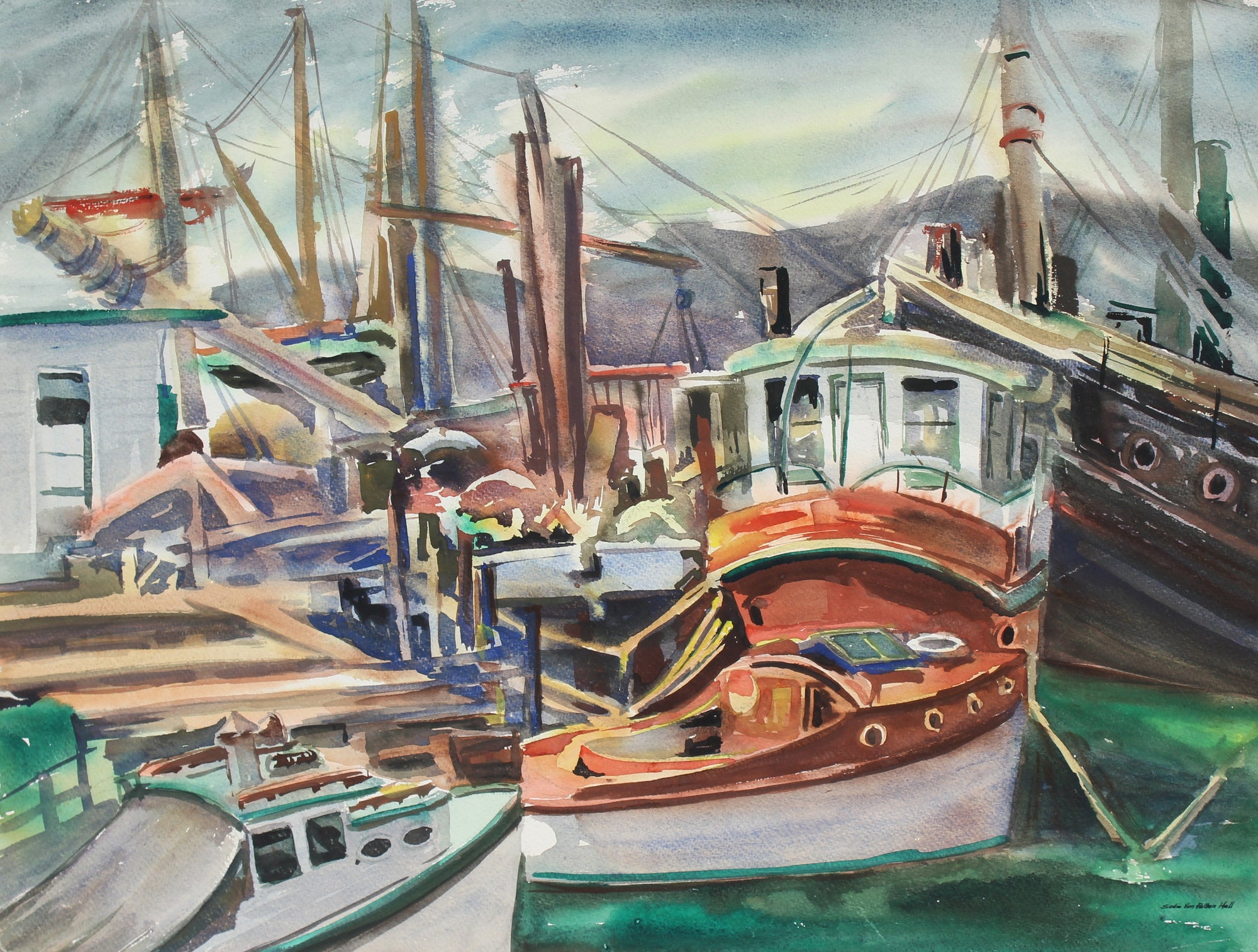Boats at Harbor<br>1960s Watercolor<br><br>#92590