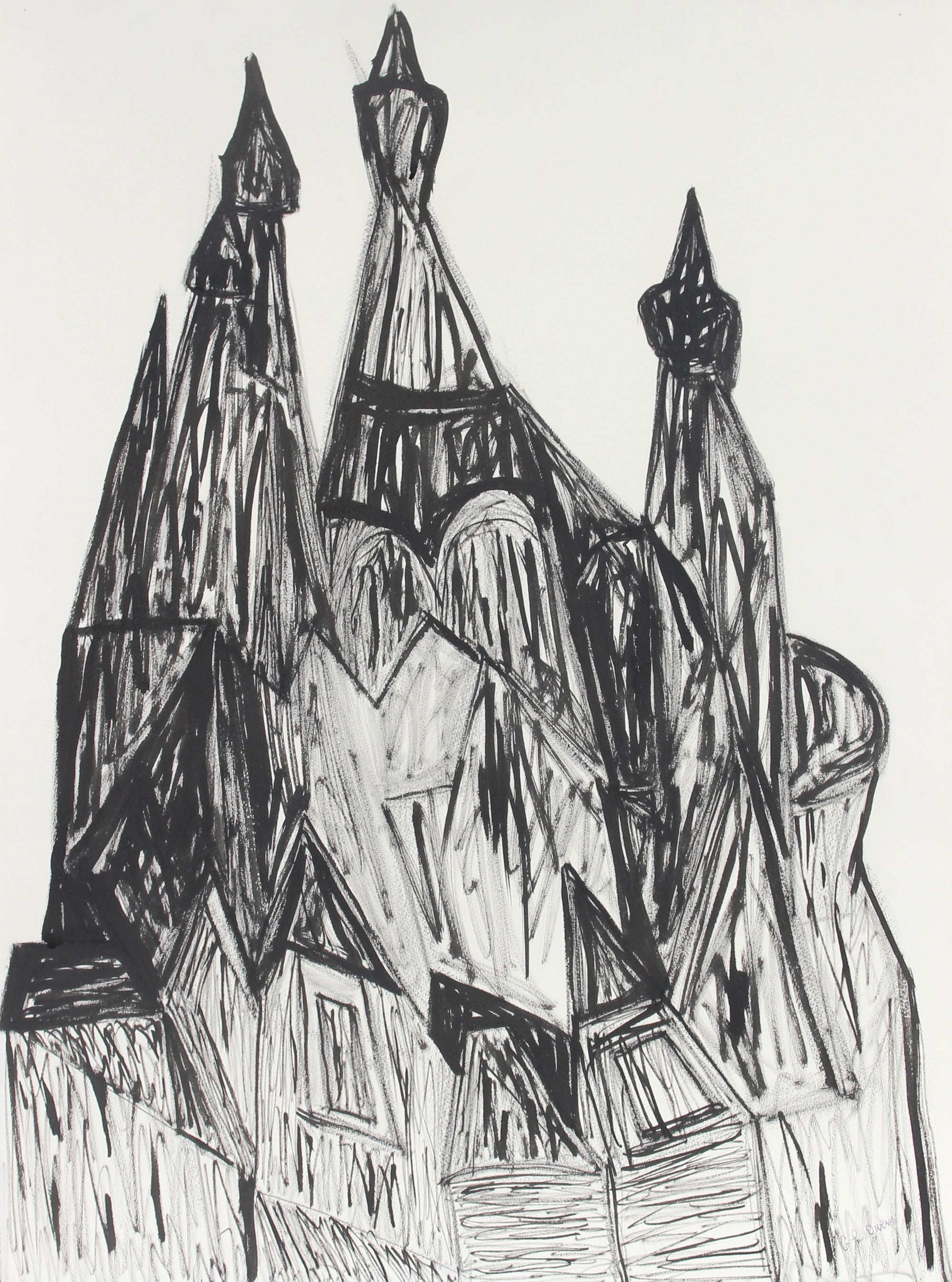 <i>Russian Churches in St. Petersburg</i><br>Late 20th Century Ink & Charcoal<br><br>#93412