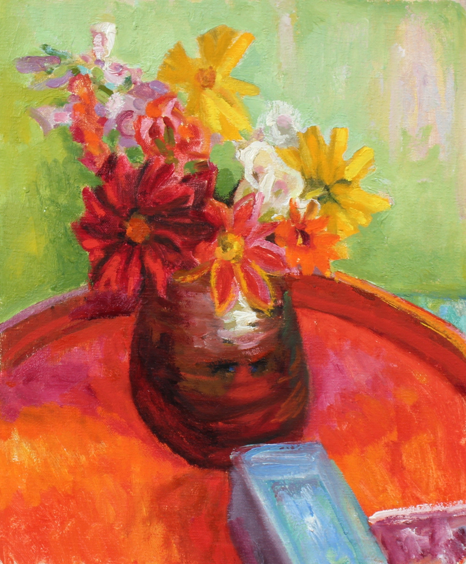 Flowers in Vase Still Life <br>Mid-Late 20th Century Oil <br><br>#93517