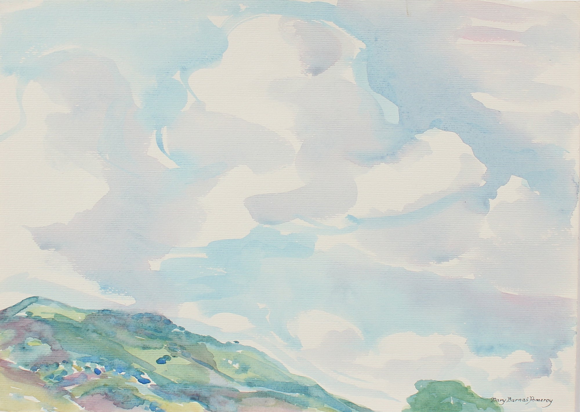 Serene Watercolor Clouds & Sky<br>Mid-Late 20th Century<br><br>#93546