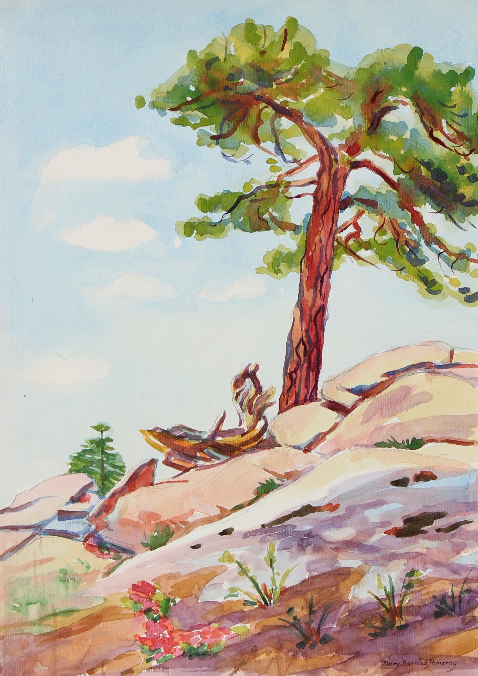 Tree Emerging From Rocks <br> Mid 20th Century Watercolor<br><br>#93553