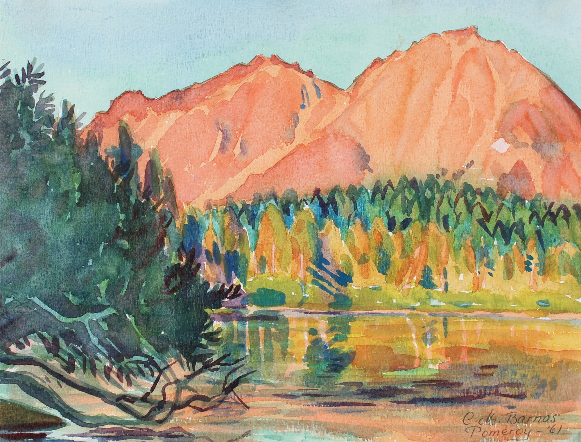 <i>Chaos Craggs and Manzanita Lake in Evening Sunlight</i><br>1961 Watercolor<br><br>#93555
