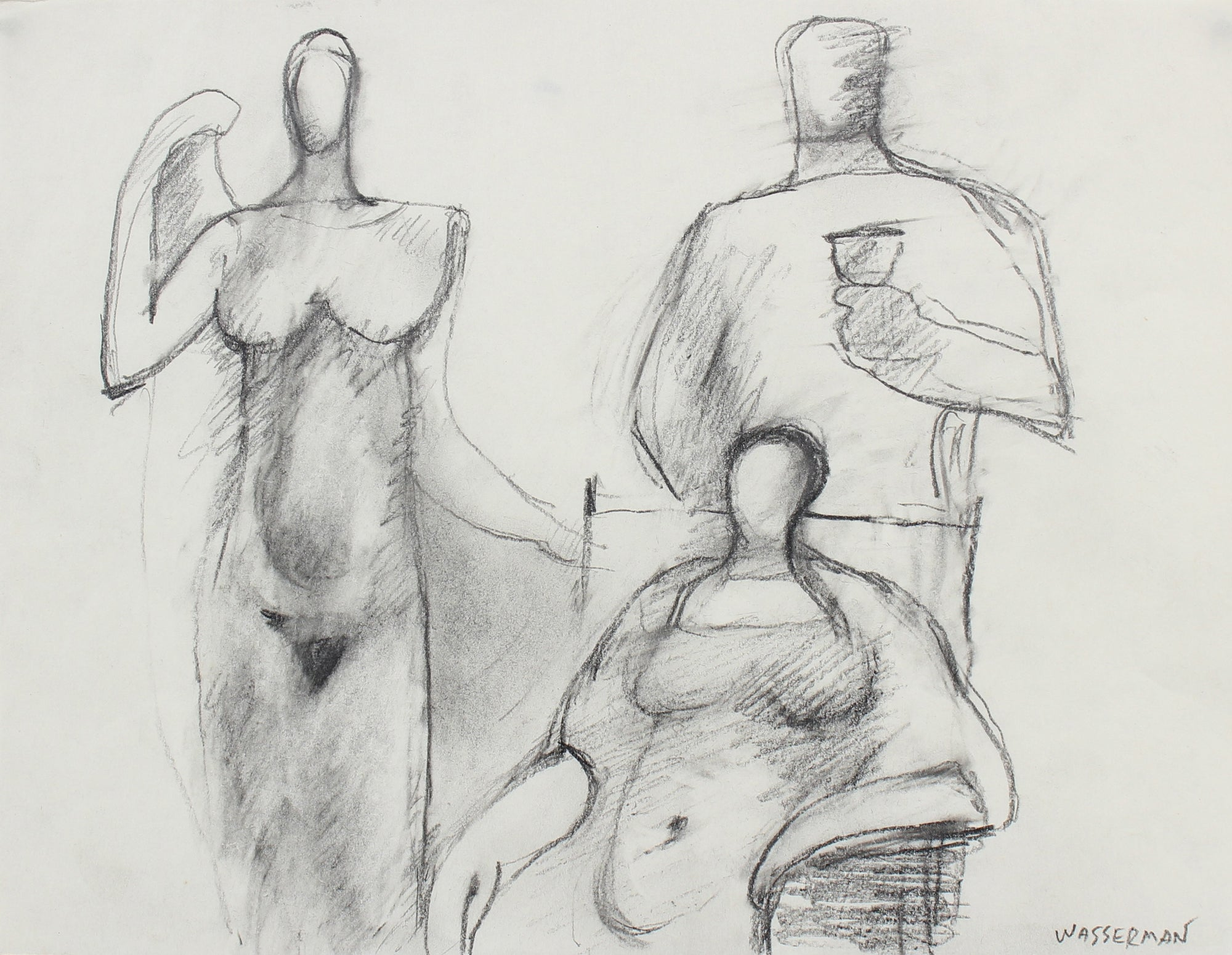 Three Abstracted Figures <br>Late 20th Century Graphite <br><br>#93573