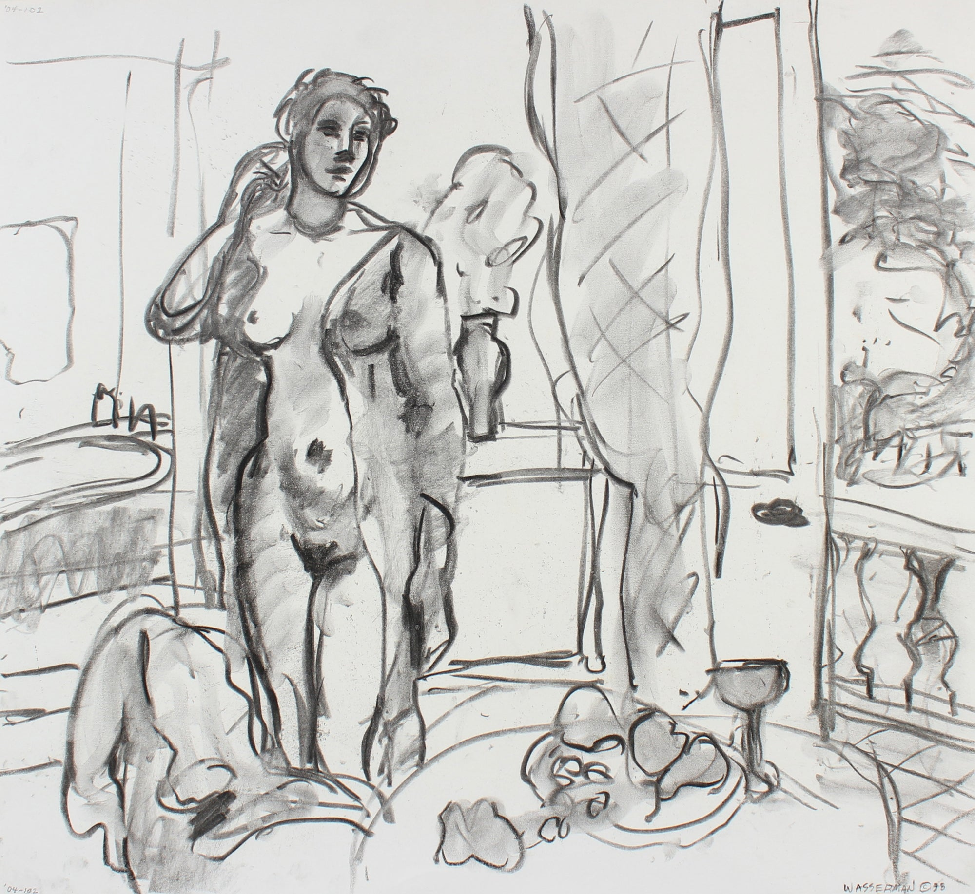 Interior Nude Figure Scene <br>Late 20th Century Charcoal <br><br>#93586
