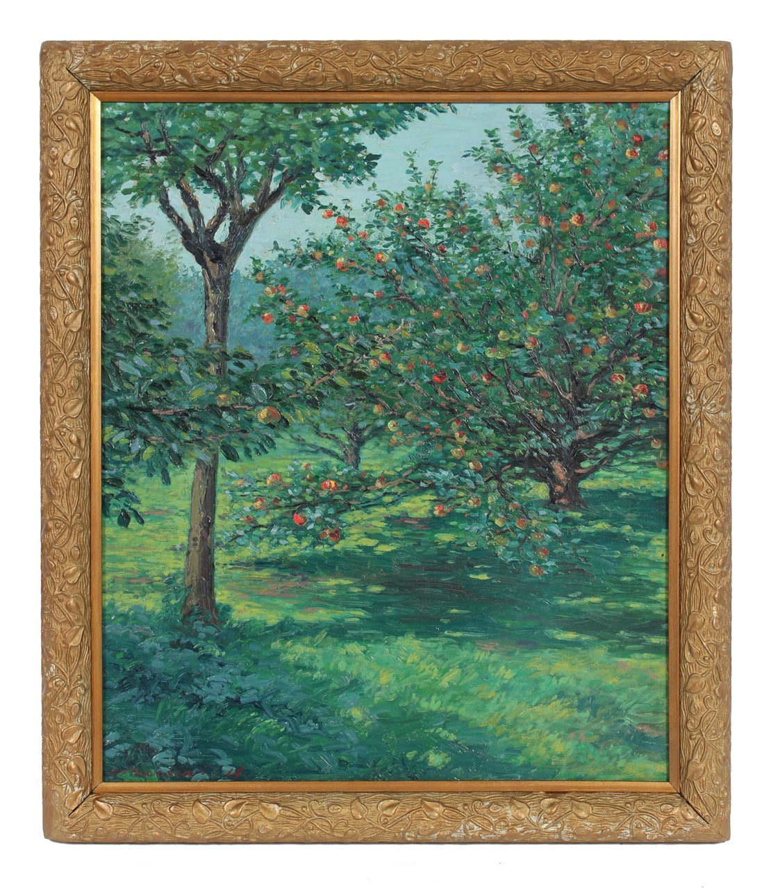 <i>Apple Trees in Glowing Ripeness</i>Oil Scene c. 1919<br><br>#93597