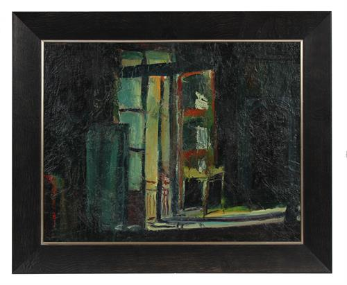 Moody Nighttime City Scene<br>1965 Oil<br><br>#93603