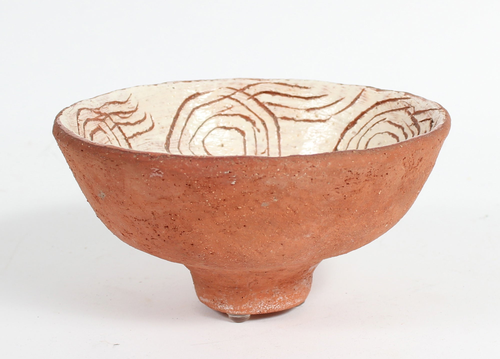 Copper-Toned Ceramic Bowl With Tan Interior <br><br>#93658