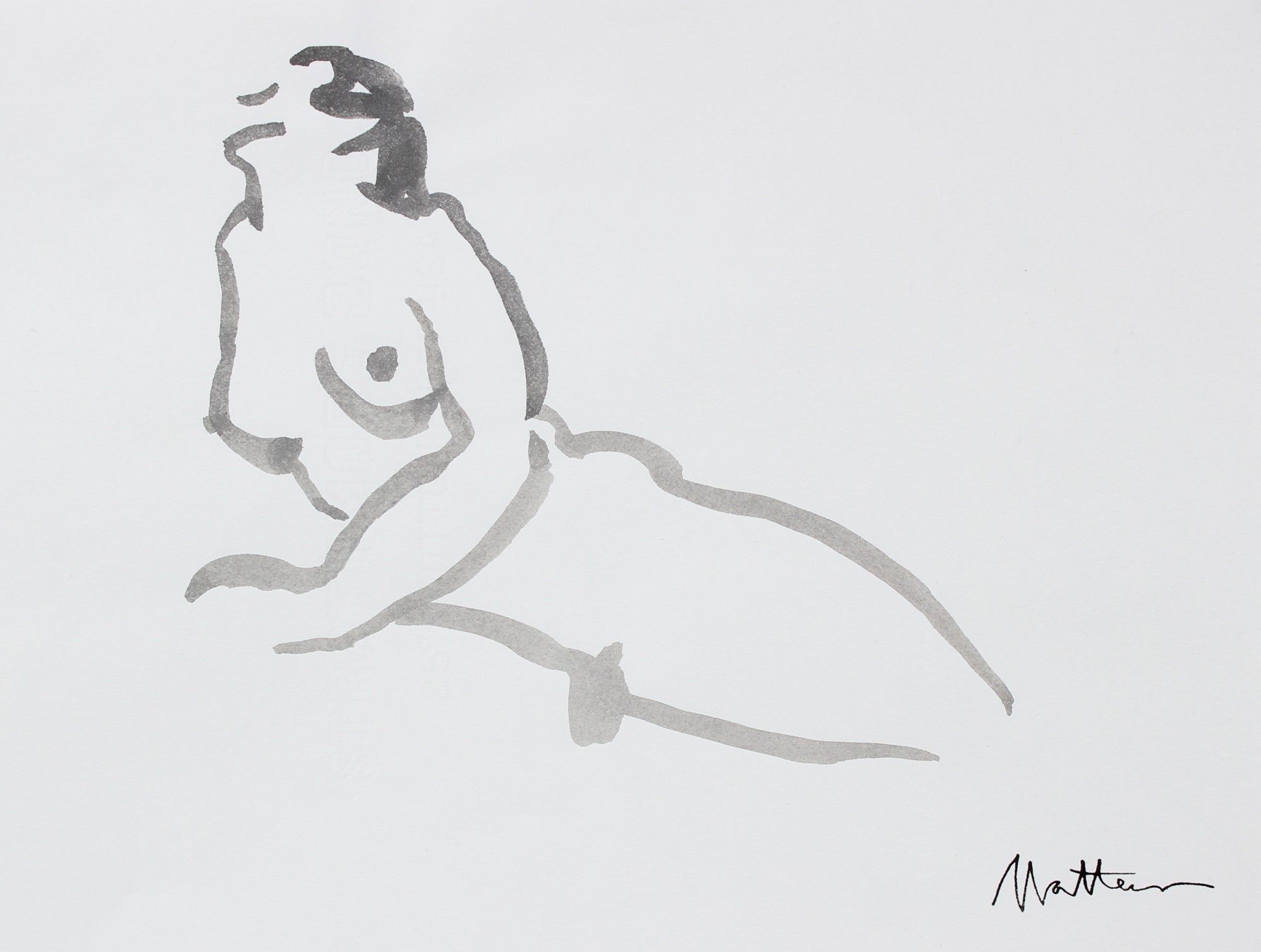 Female Nude In Repose <br>20th Century Ink Wash <br><br>#93727
