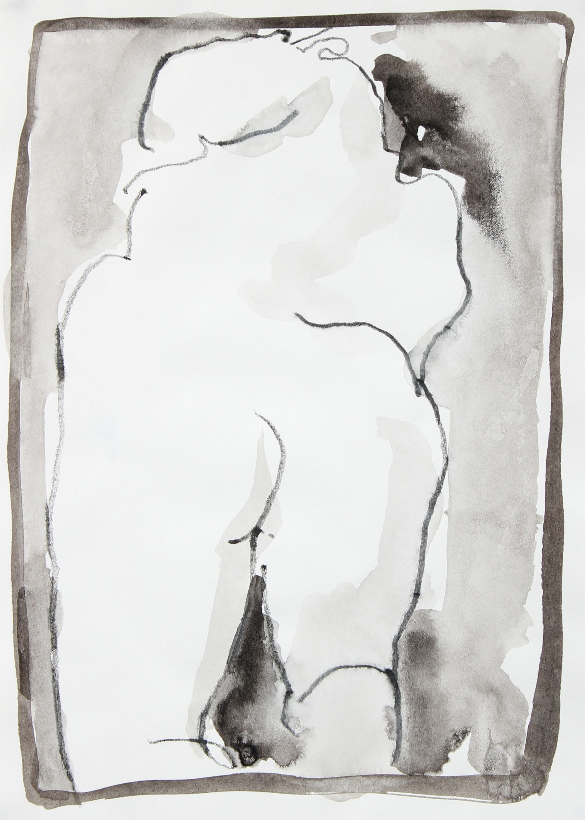 Nude Figure Study <br>1995 Ink Wash and Colored Pencil<br><br>#93739