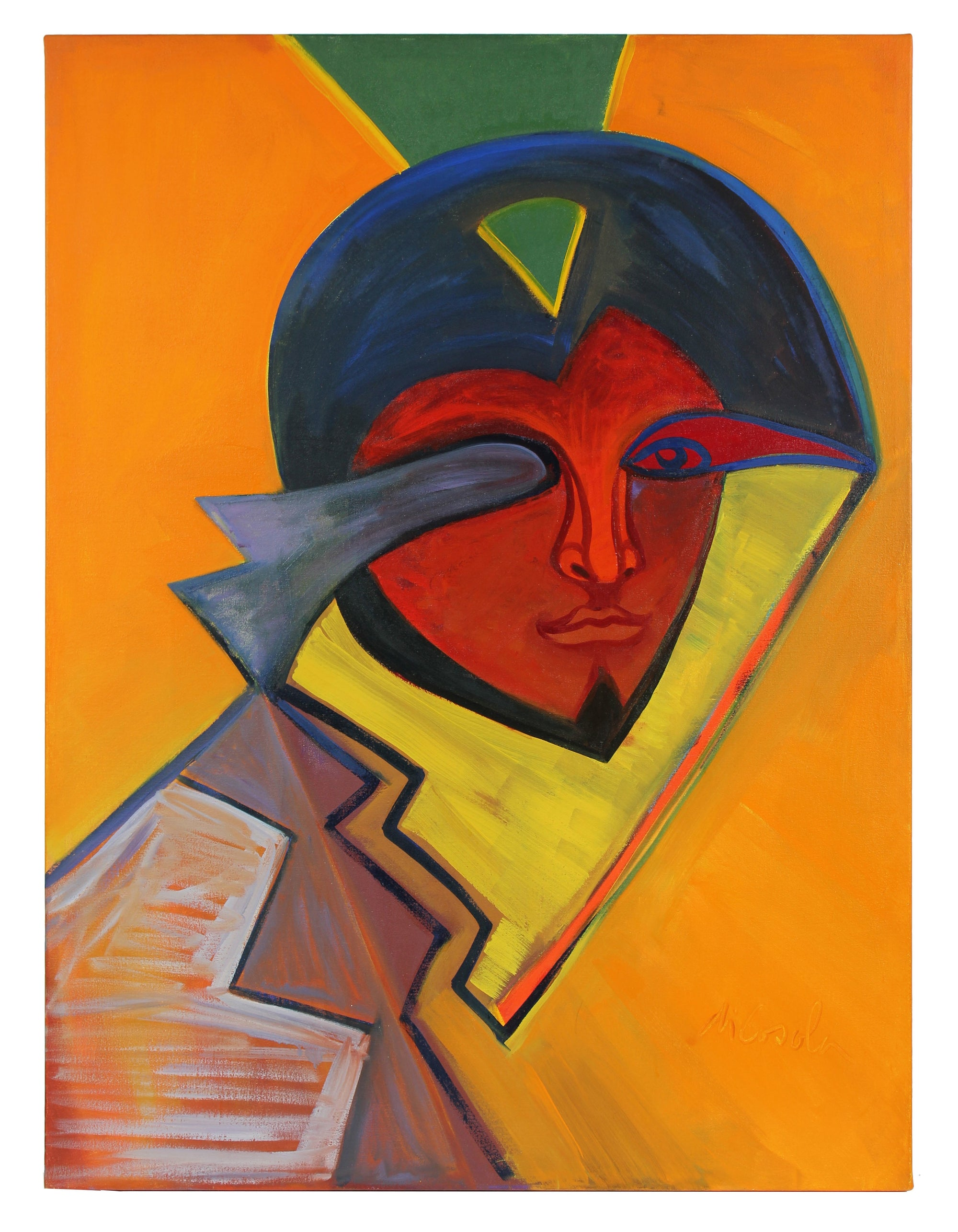 Large Abstracted Portrait<br>Late 20th Century Oil<br><br>#93880