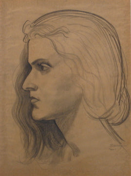Stern Woman in Profile<br>1920-30s Graphite<br><br>#9401