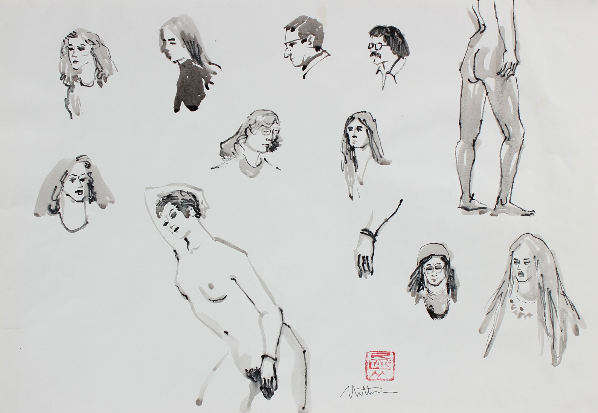 Figurative Vingettes <br>20th Century Charcoal & Ink Wash <br><br>#94028