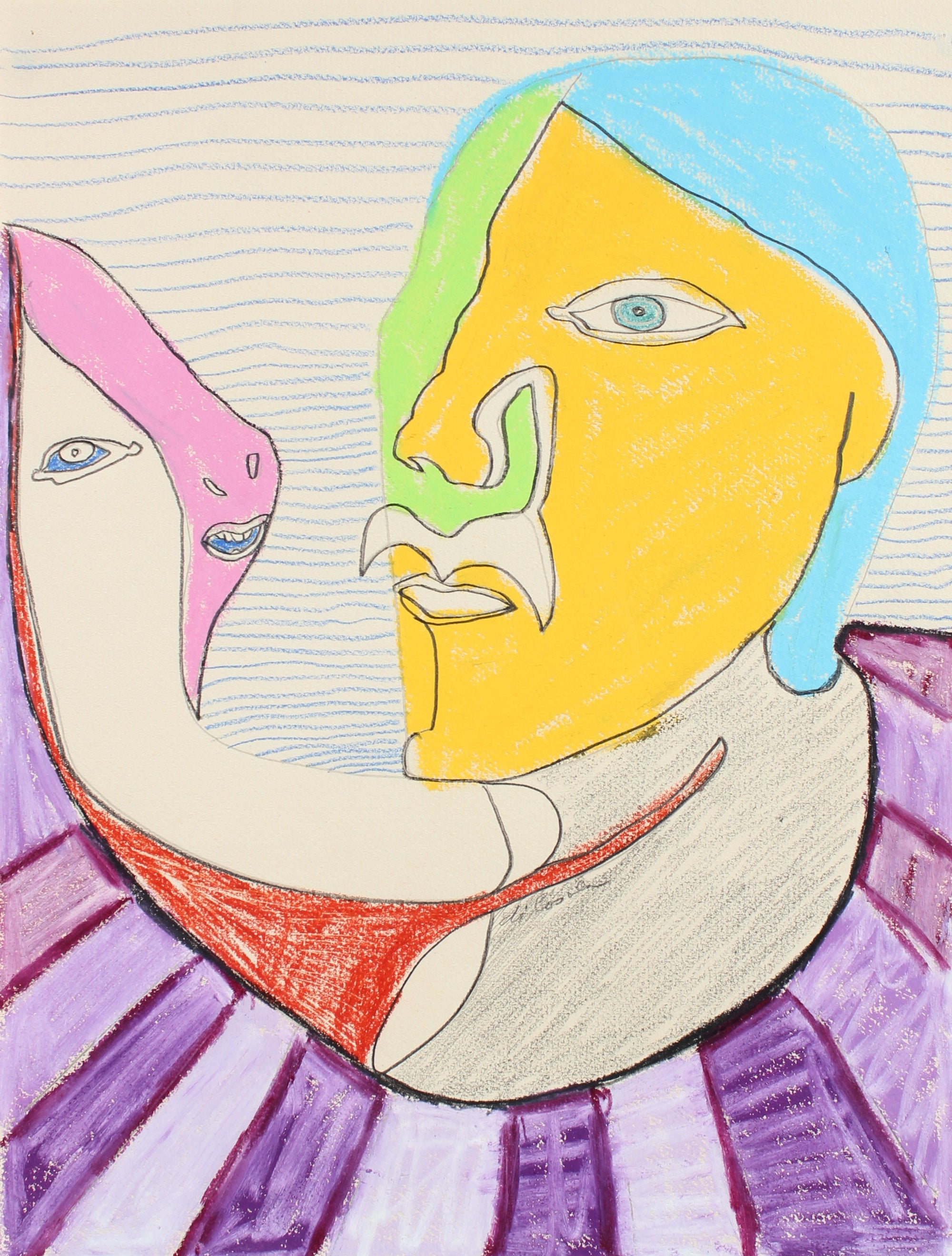 Surreal Conversation <br>Late 20th Century Pastel & Graphite <br><br>#94083