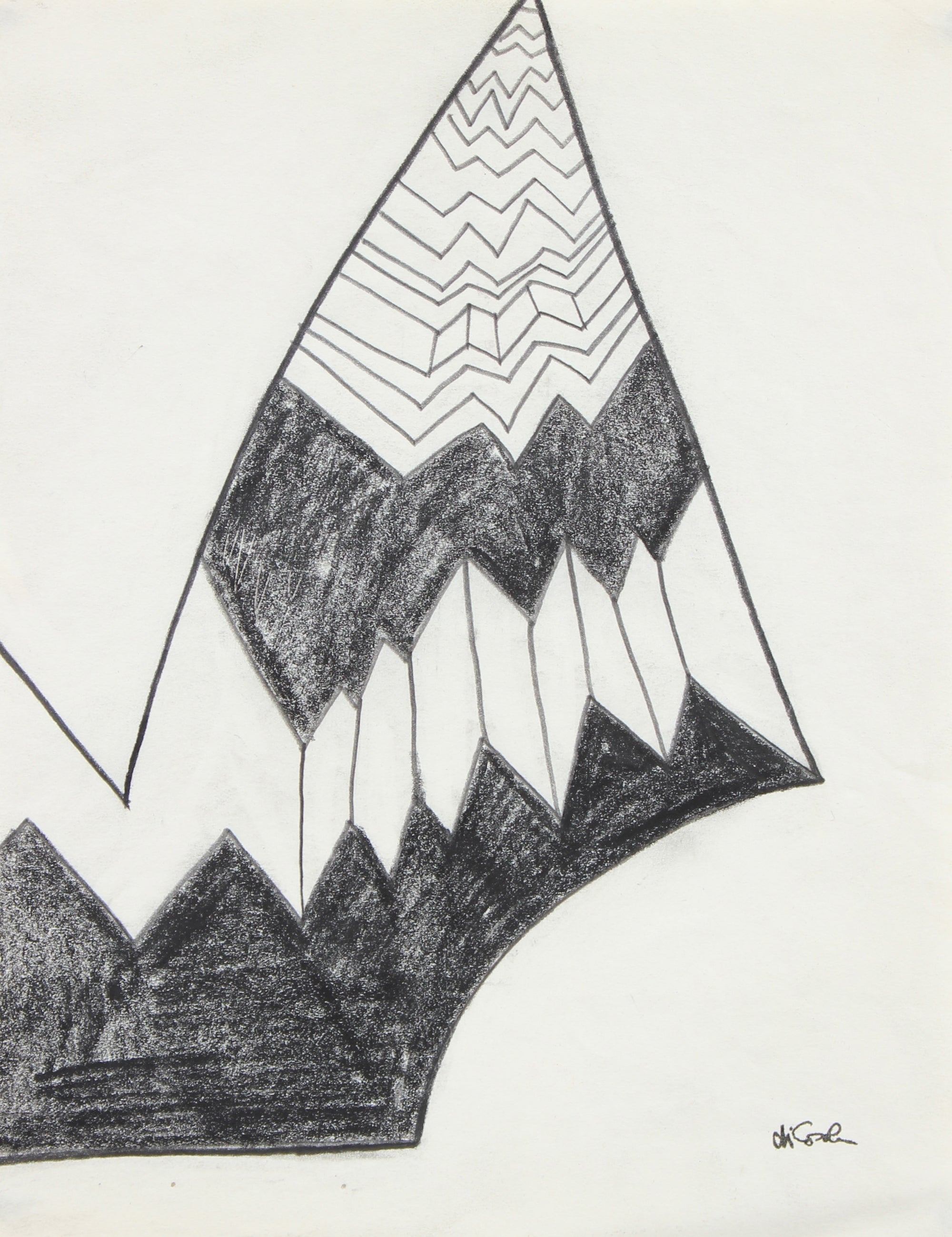 Modernist Monochromatic Angular Abstract <br>20th Century Graphite <br><br>#94094