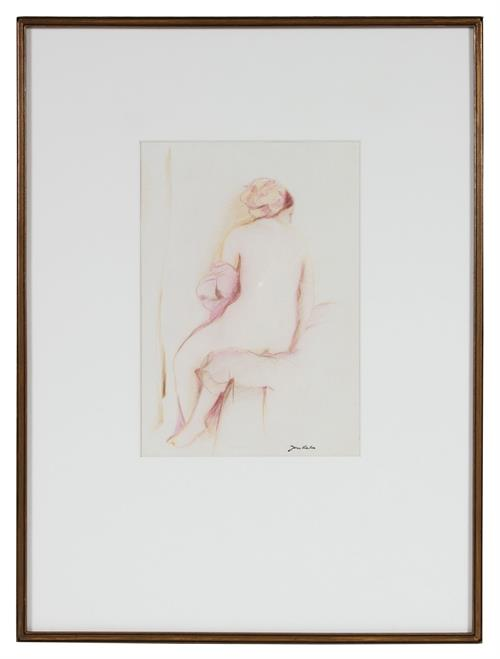 <i>Ingres Bather of Valpincon</i><br>Mid Century Colored Pencil on Rice Paper<br><br>#72067