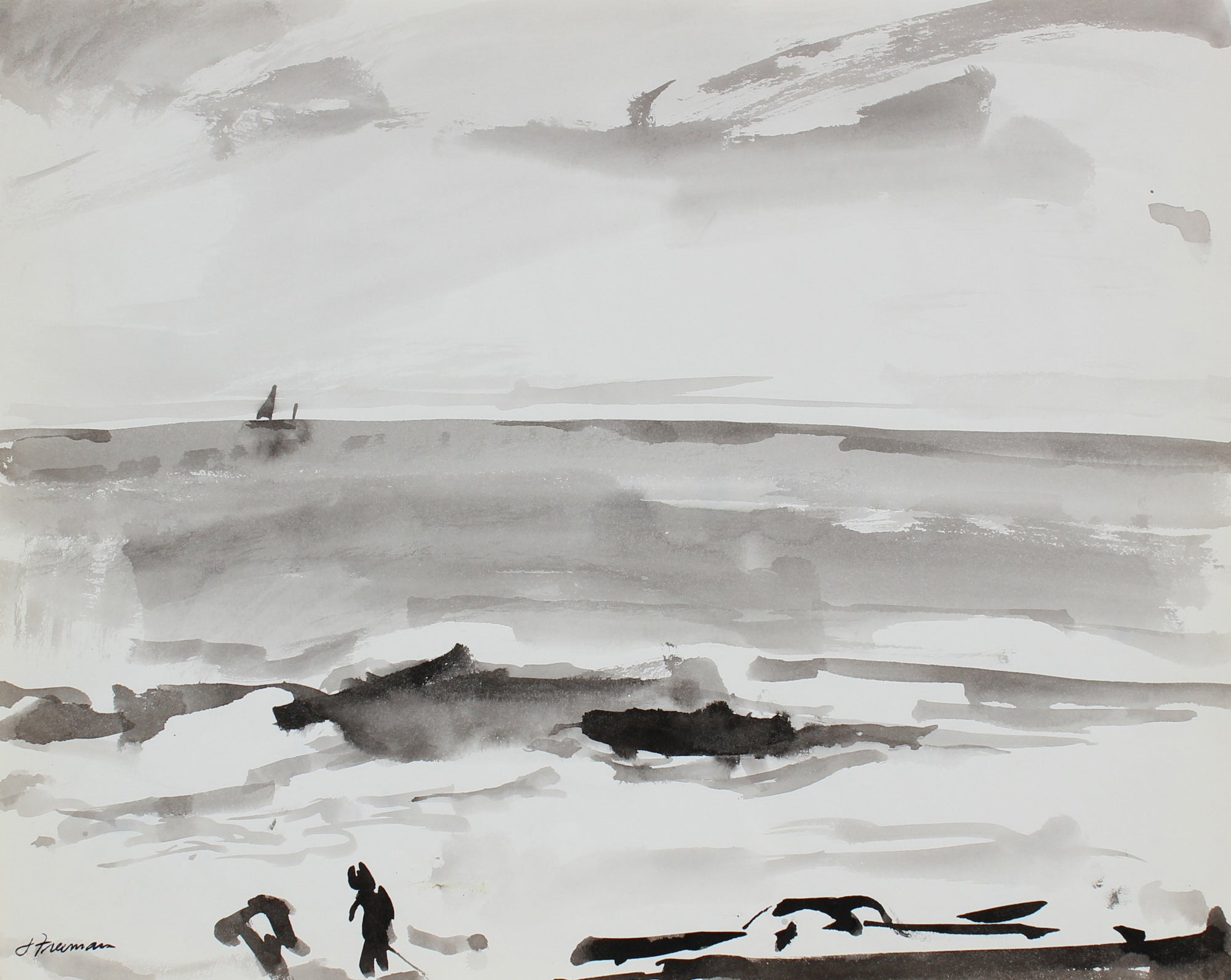 Black and White Surf Scene<br>1976 Ink Wash <br><br>#94986