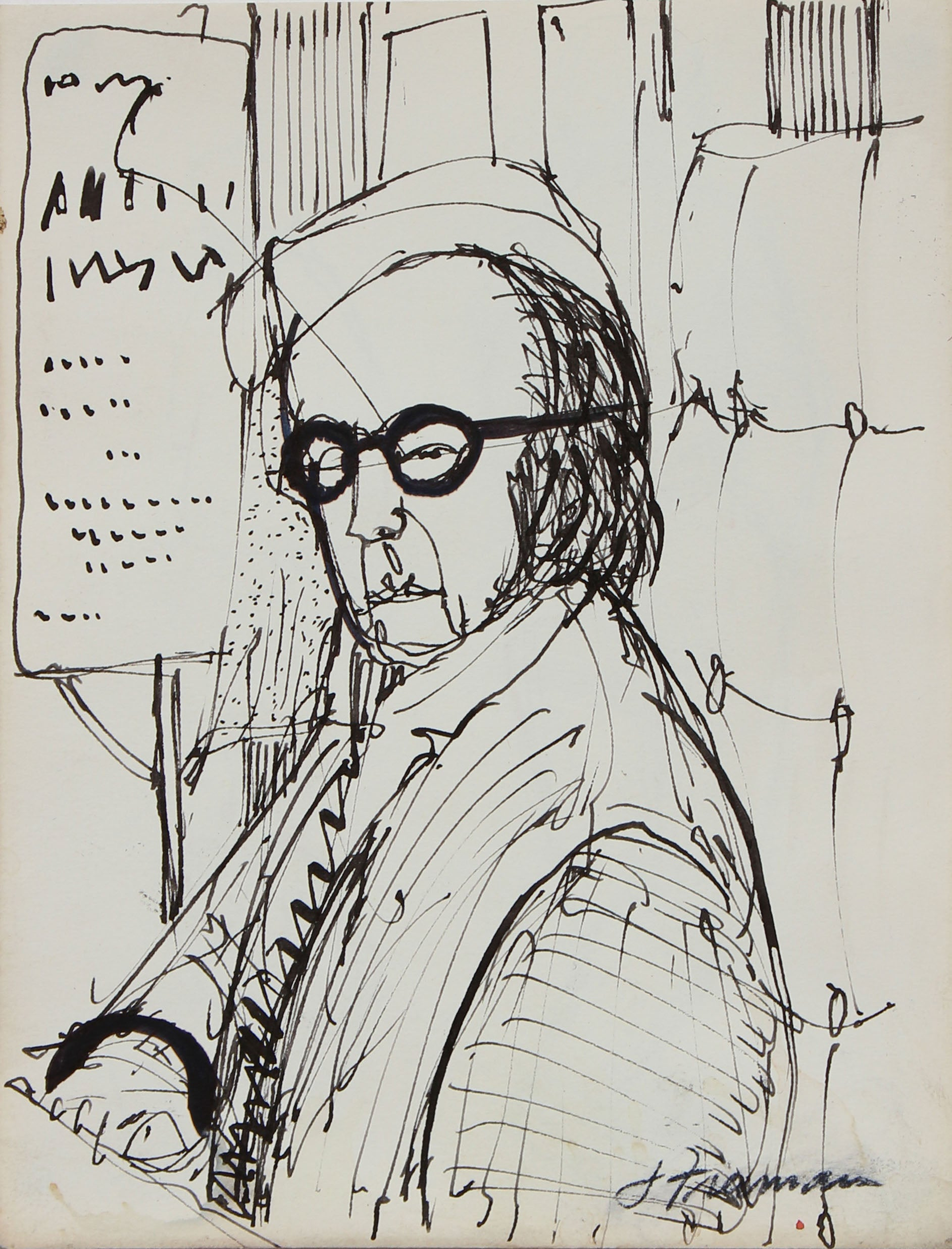 Seated Figure in Glasses <br>1960s-1970s Ink <br><br>#94993