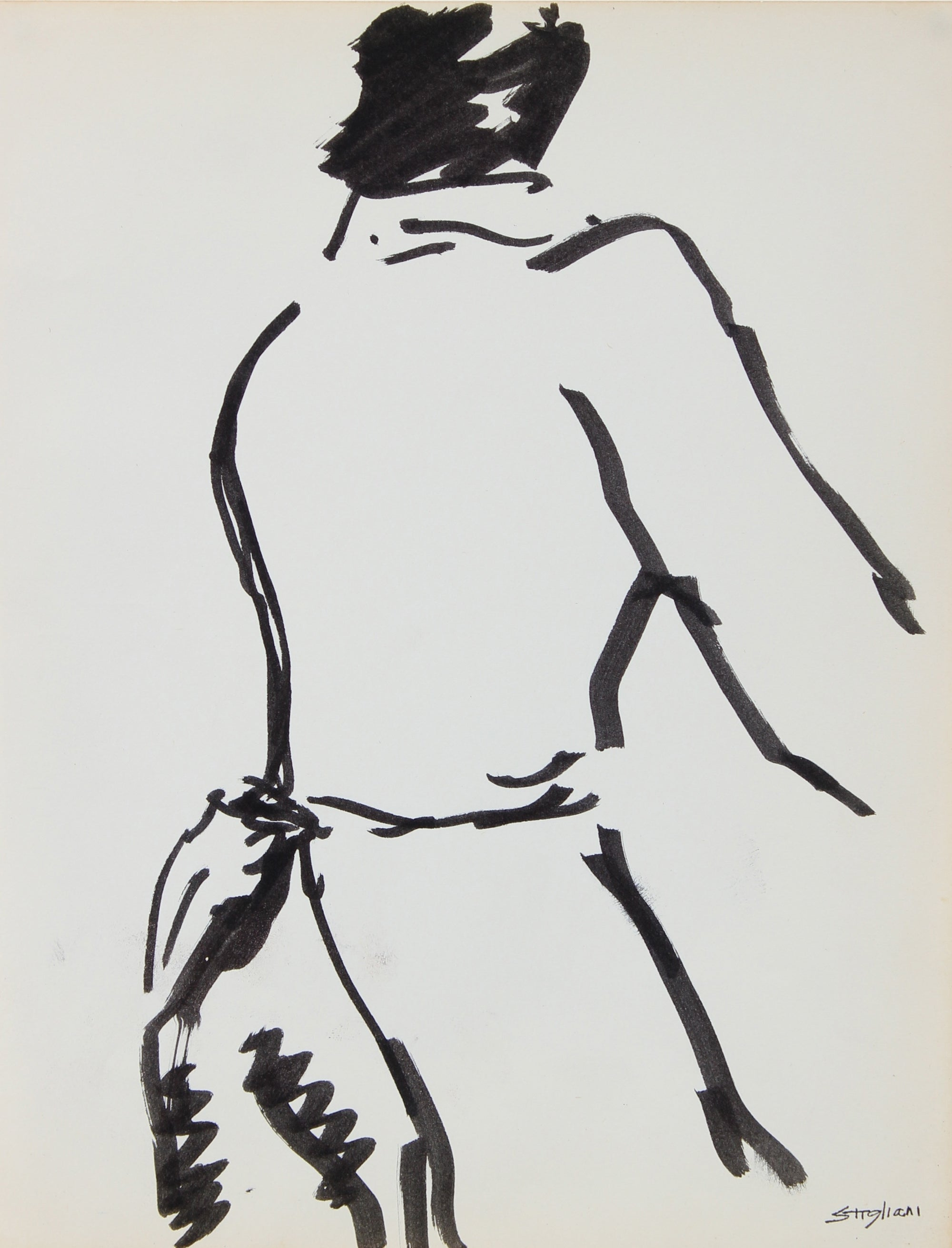 Modernist Figure<br>Mid-Late 20th Century Ink<br><br>#95025