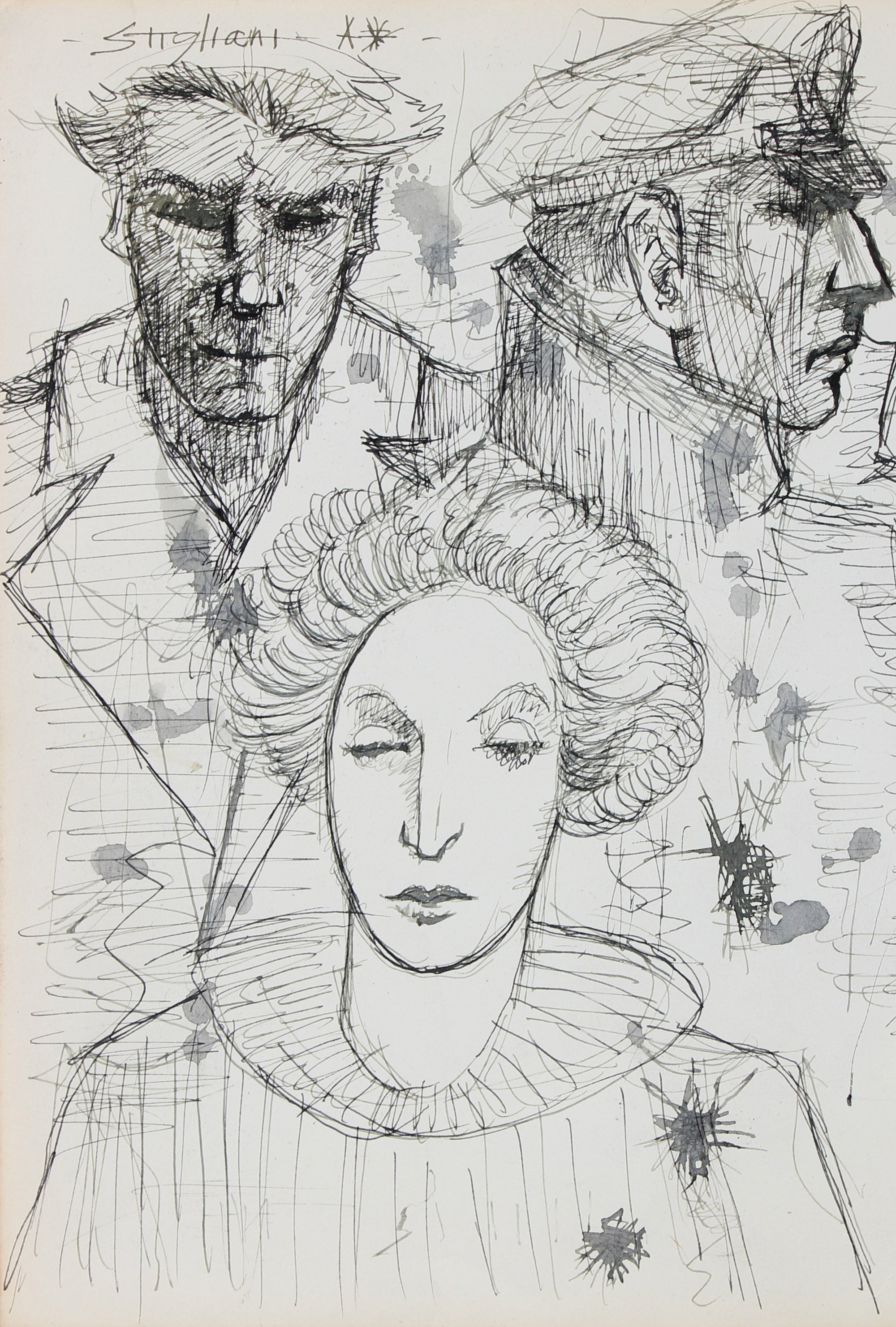 Portrait Drawing of Three Heads <br>Late 20th Century Ink <br><br>#95049